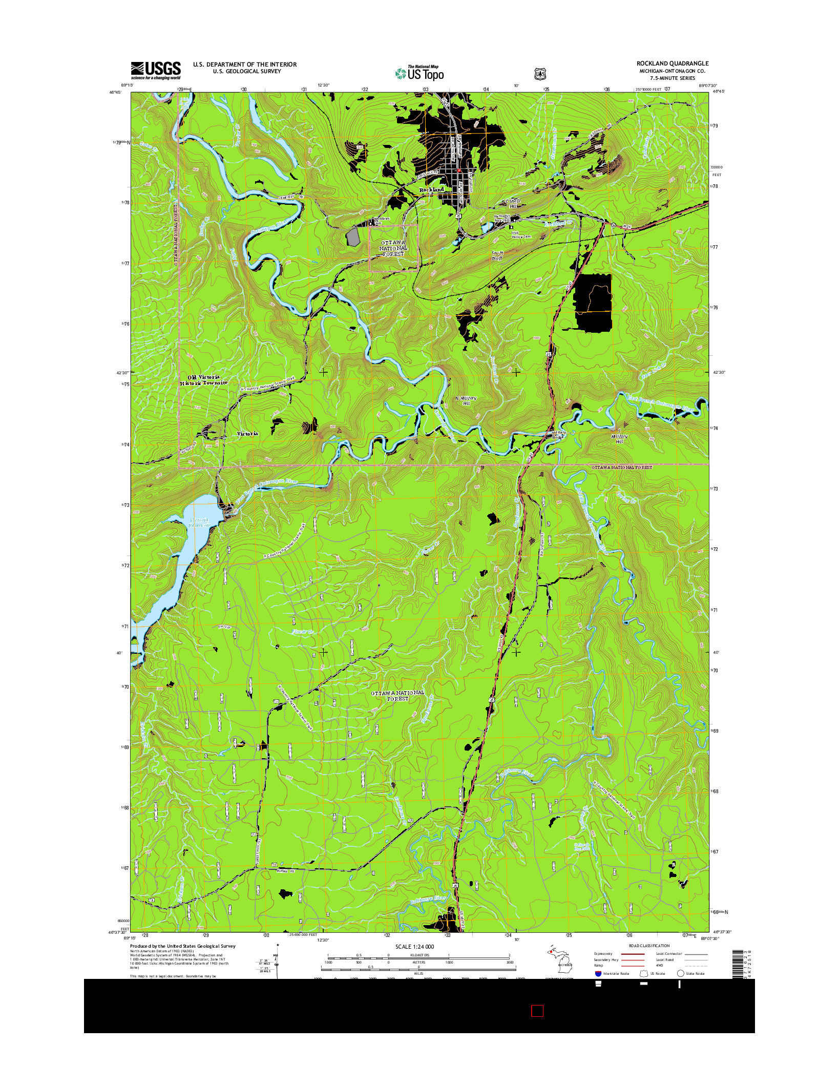 USGS US TOPO 7.5-MINUTE MAP FOR ROCKLAND, MI 2014