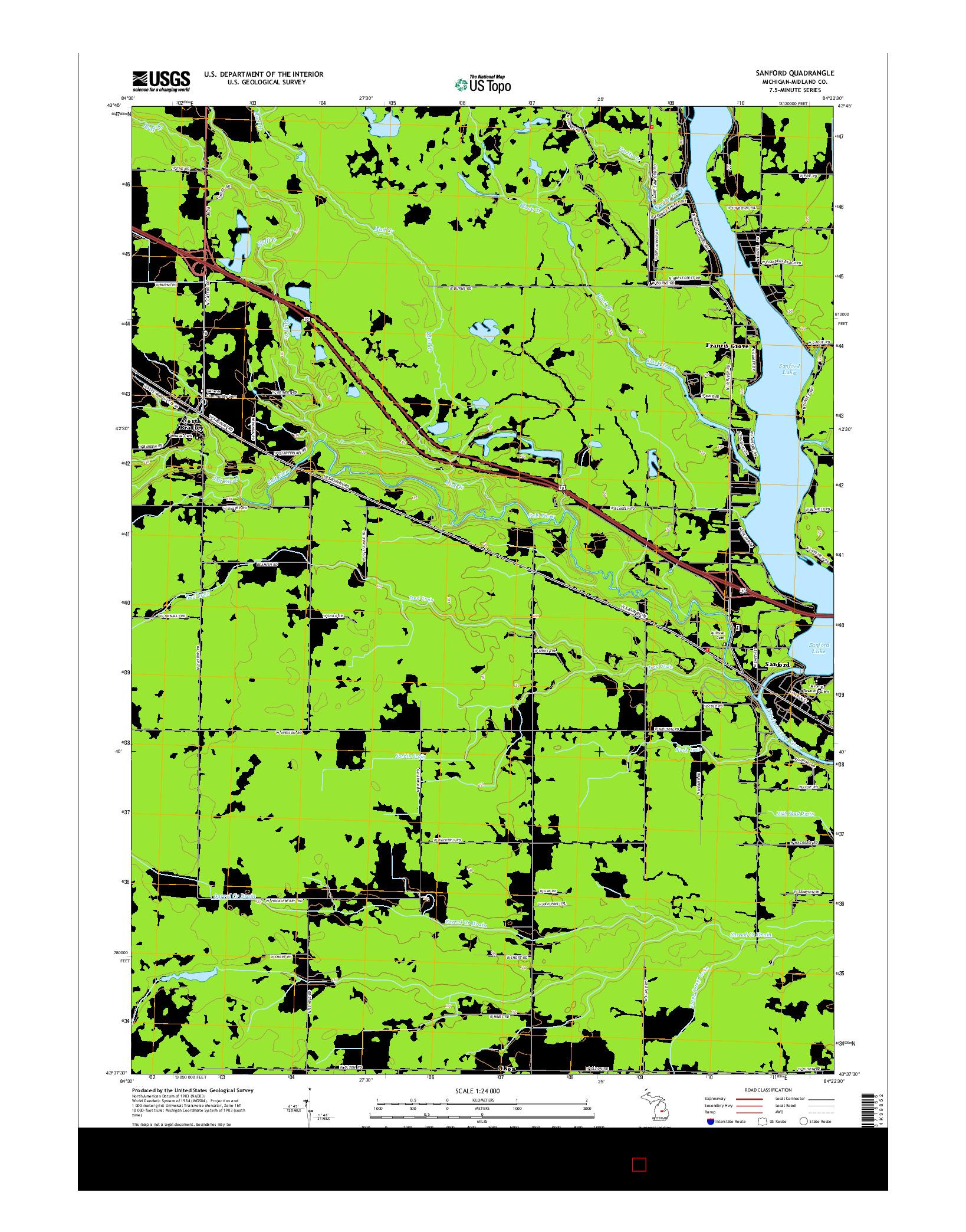 USGS US TOPO 7.5-MINUTE MAP FOR SANFORD, MI 2014