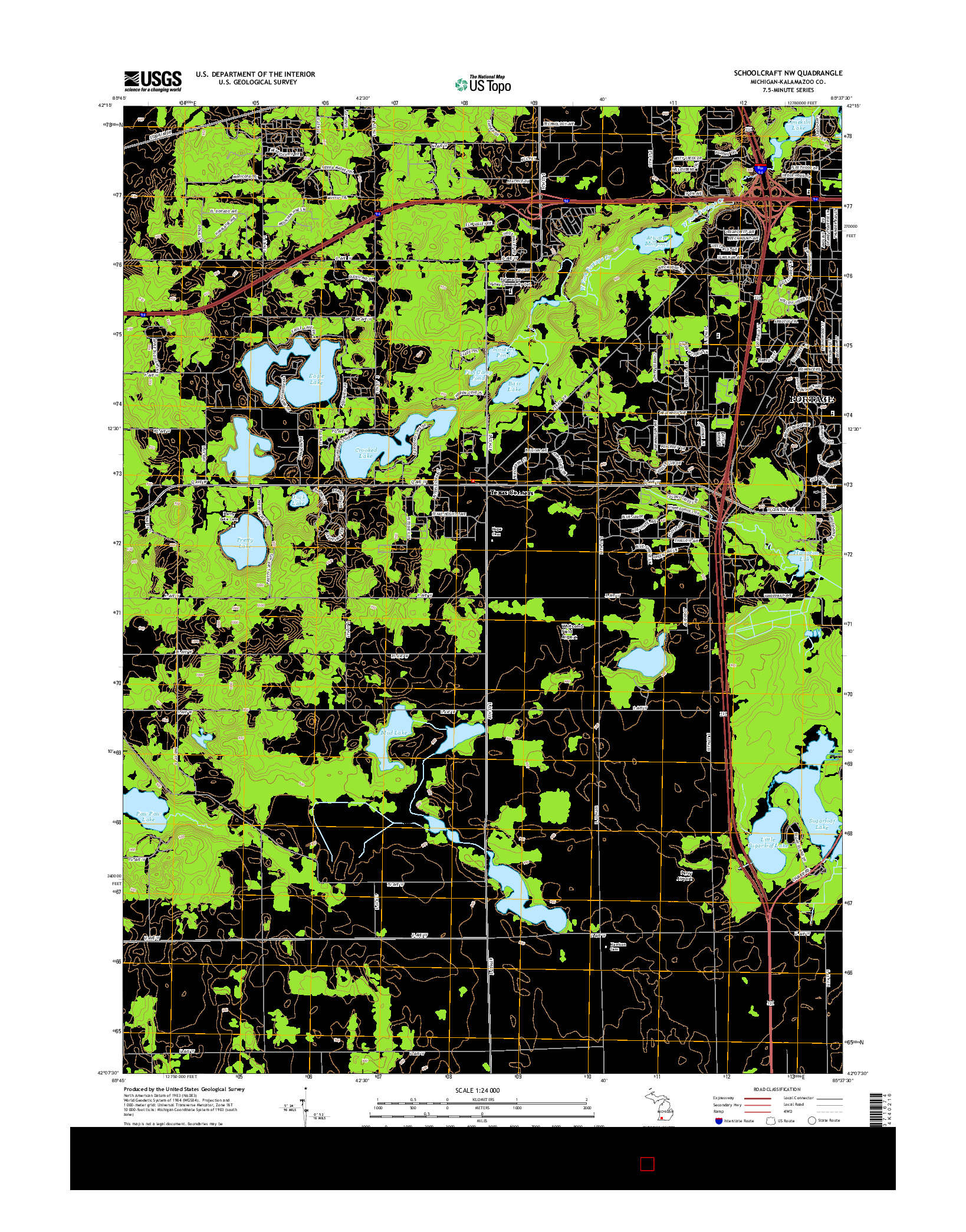USGS US TOPO 7.5-MINUTE MAP FOR SCHOOLCRAFT NW, MI 2014