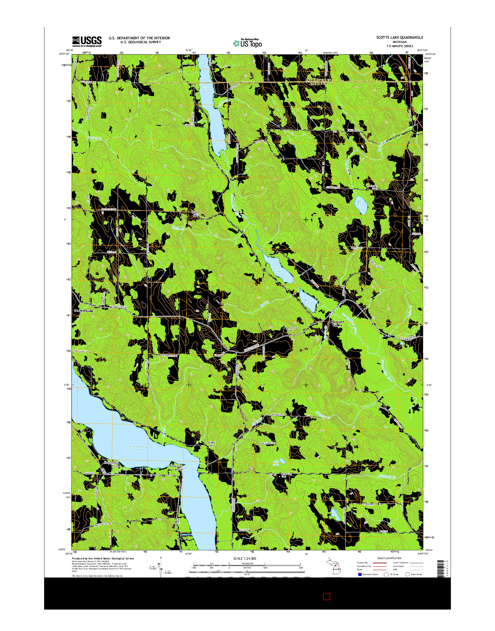 USGS US TOPO 7.5-MINUTE MAP FOR SCOTTS LAKE, MI 2014