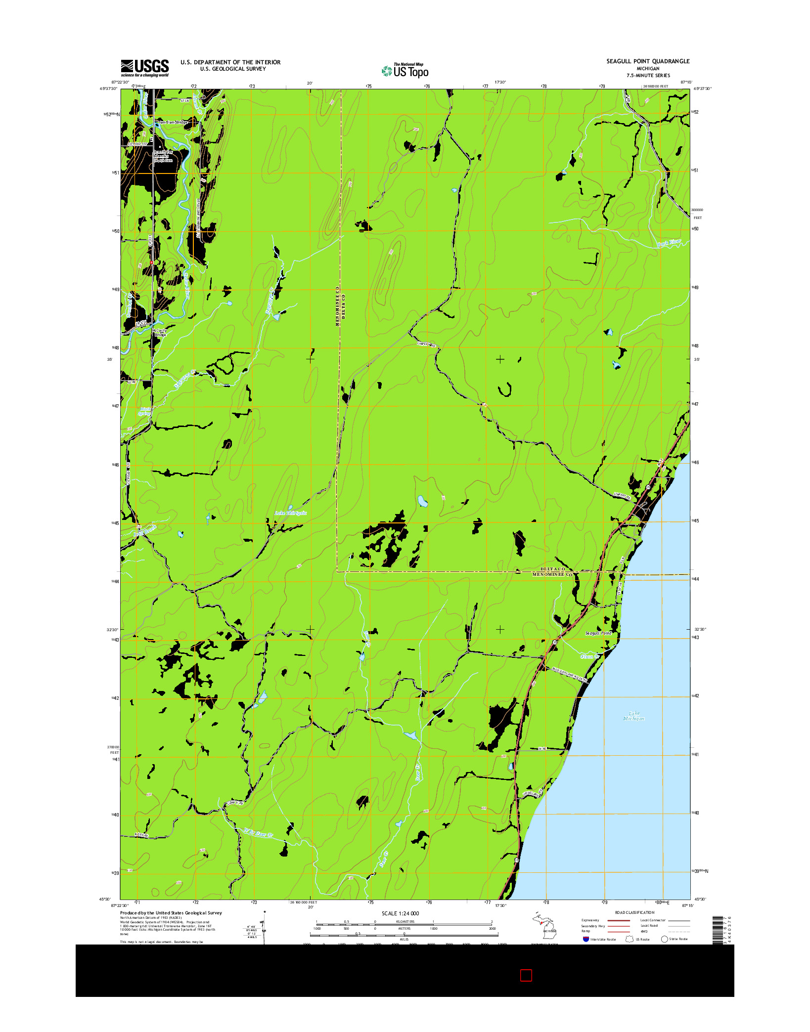 USGS US TOPO 7.5-MINUTE MAP FOR SEAGULL POINT, MI 2014