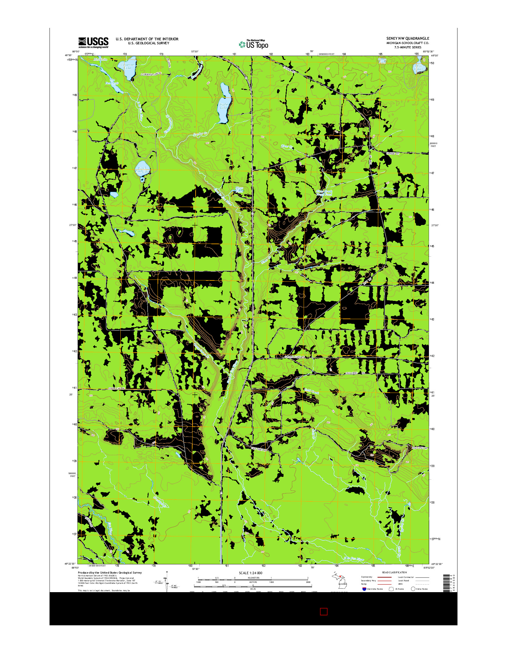 USGS US TOPO 7.5-MINUTE MAP FOR SENEY NW, MI 2014