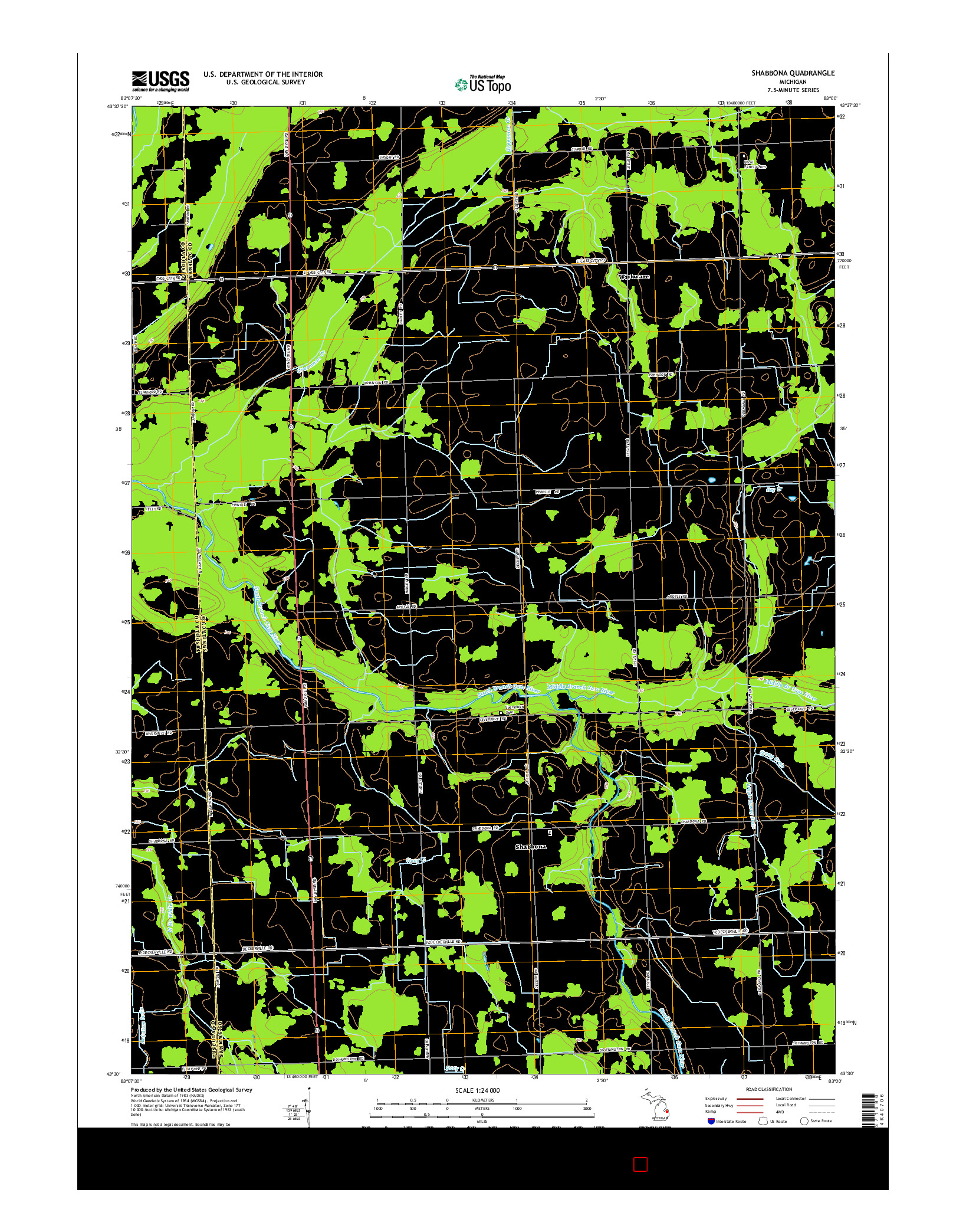 USGS US TOPO 7.5-MINUTE MAP FOR SHABBONA, MI 2014