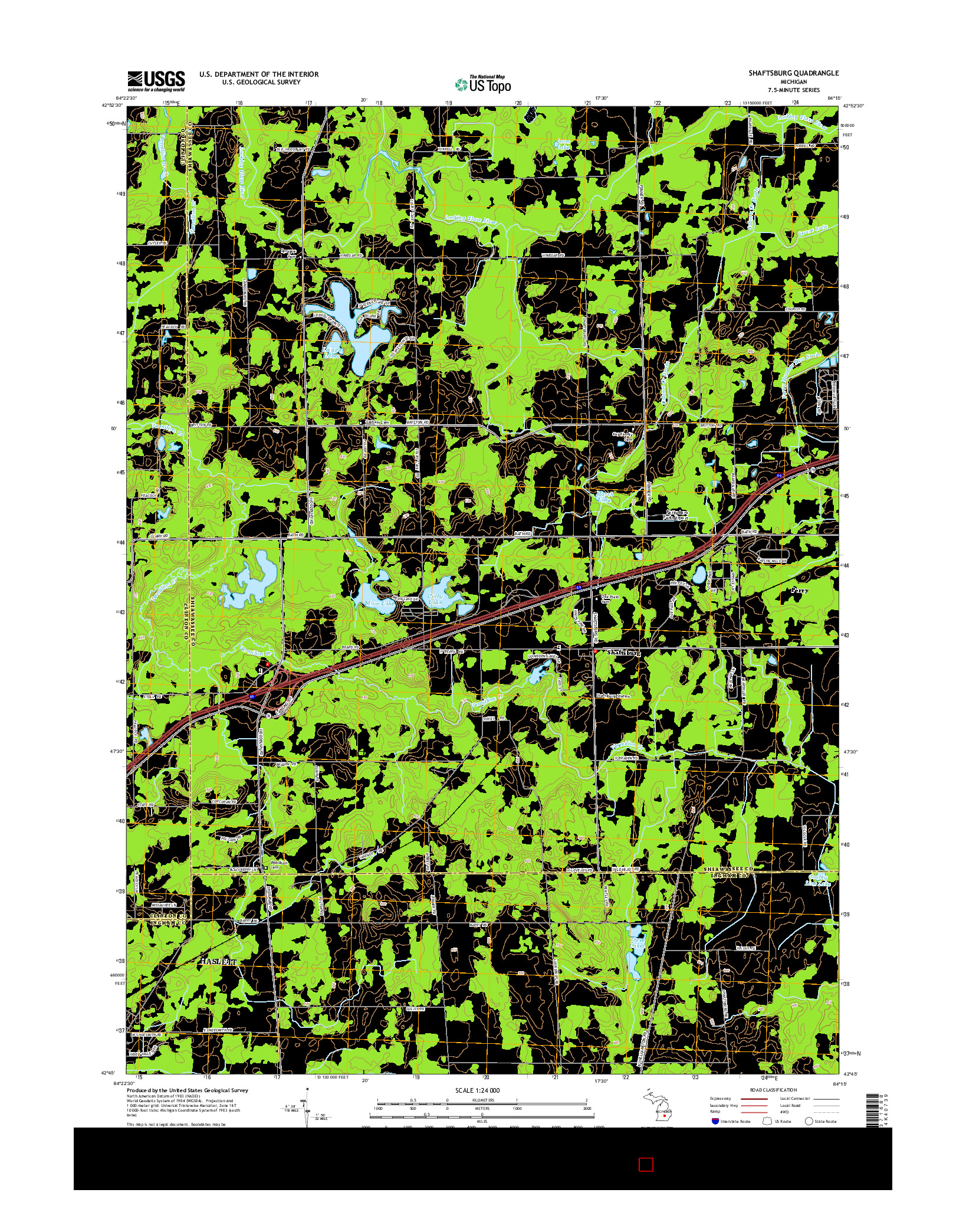 USGS US TOPO 7.5-MINUTE MAP FOR SHAFTSBURG, MI 2014
