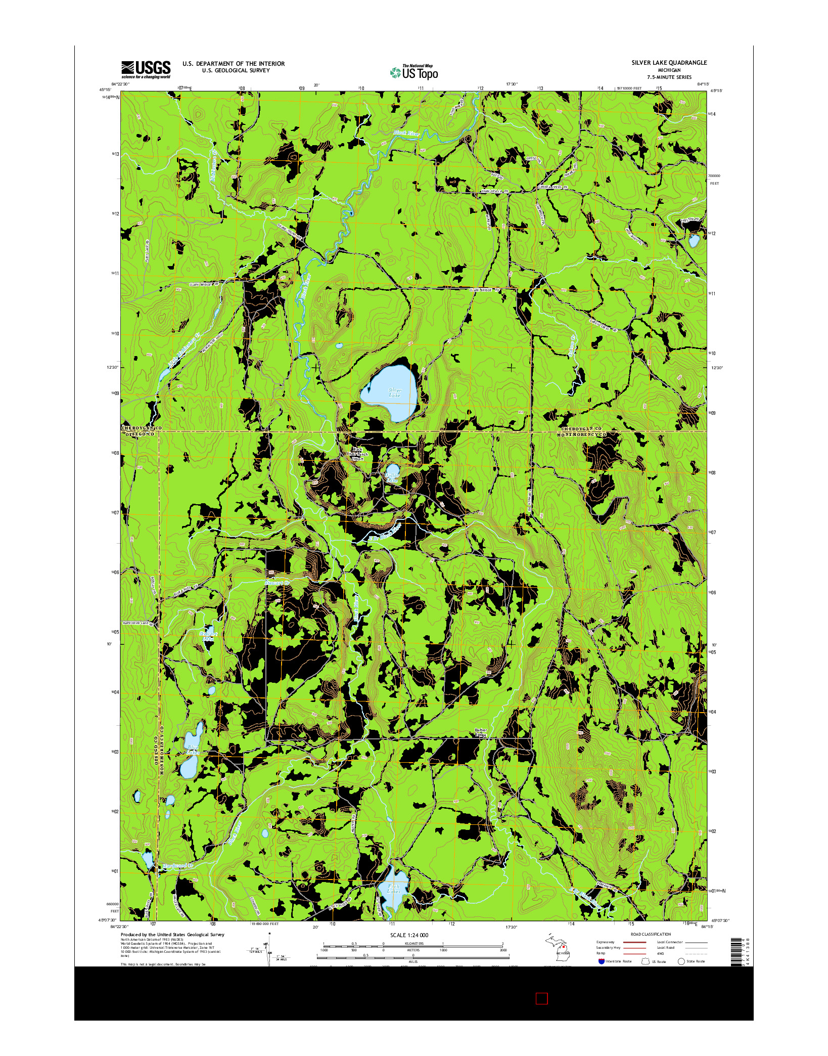 USGS US TOPO 7.5-MINUTE MAP FOR SILVER LAKE, MI 2014
