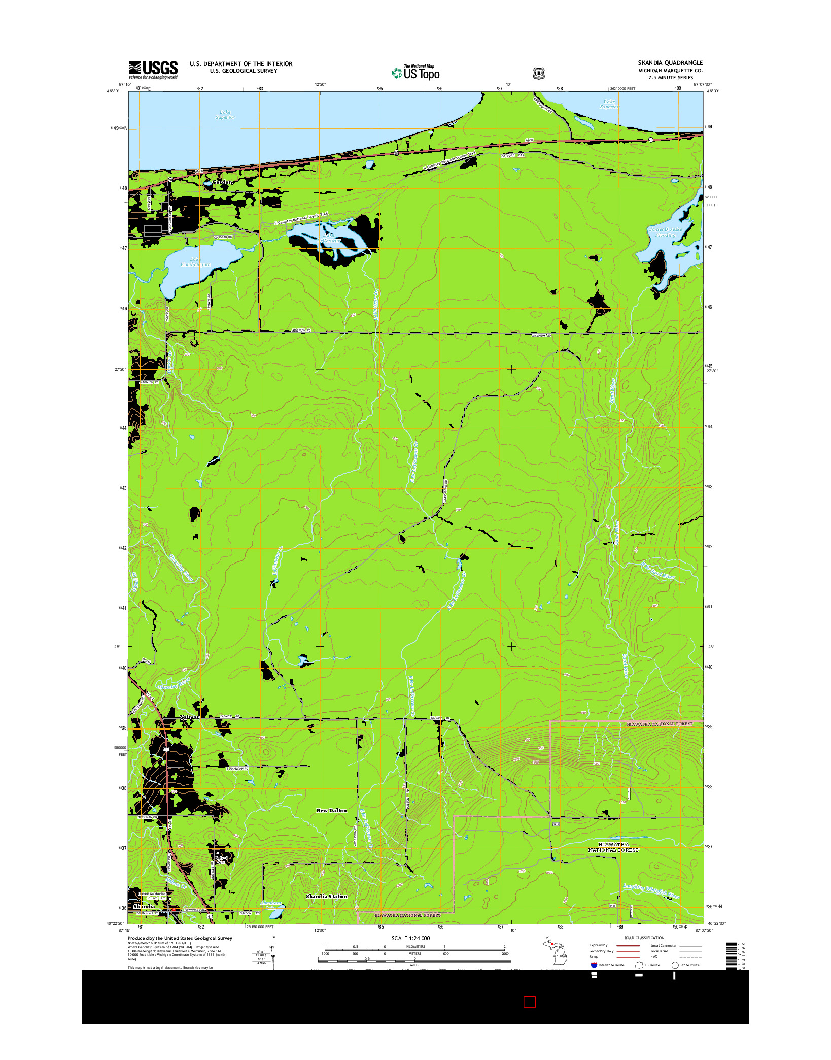 USGS US TOPO 7.5-MINUTE MAP FOR SKANDIA, MI 2014