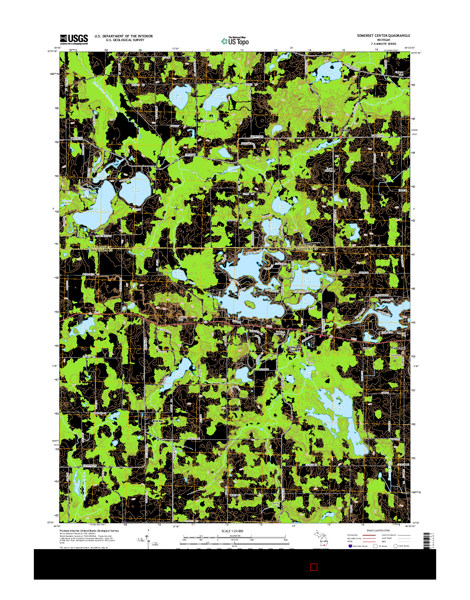 USGS US TOPO 7.5-MINUTE MAP FOR SOMERSET CENTER, MI 2014