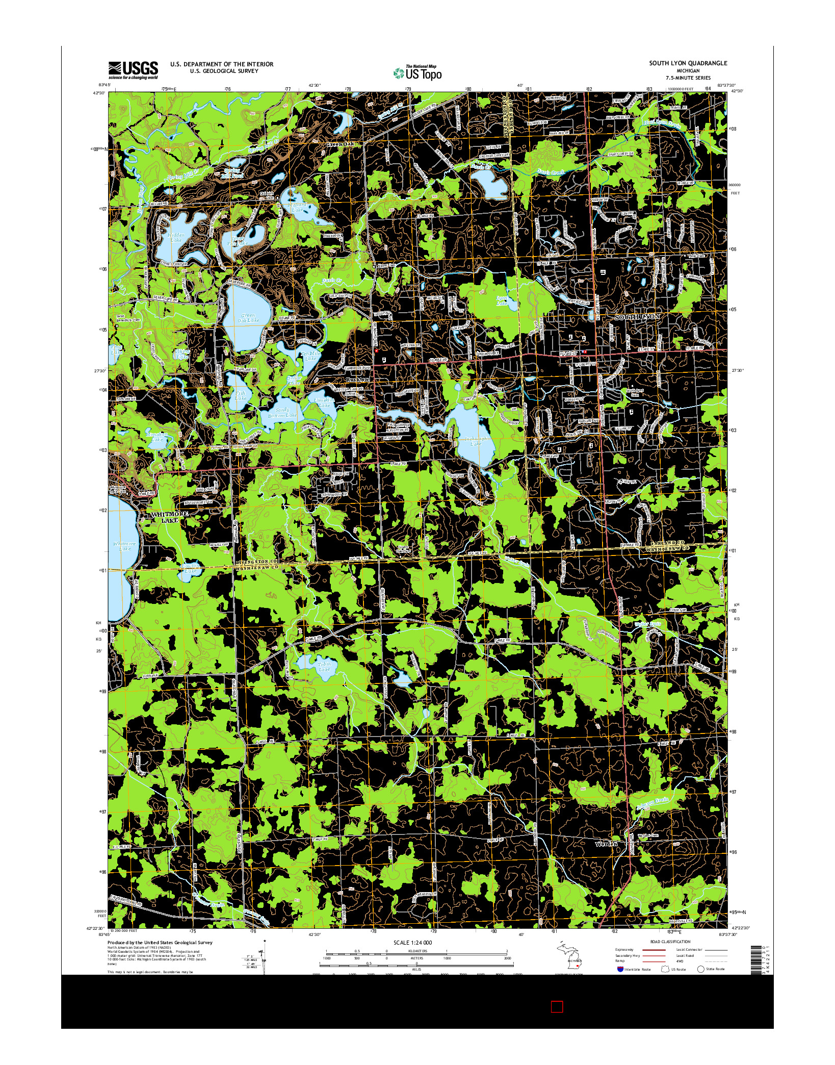 USGS US TOPO 7.5-MINUTE MAP FOR SOUTH LYON, MI 2014