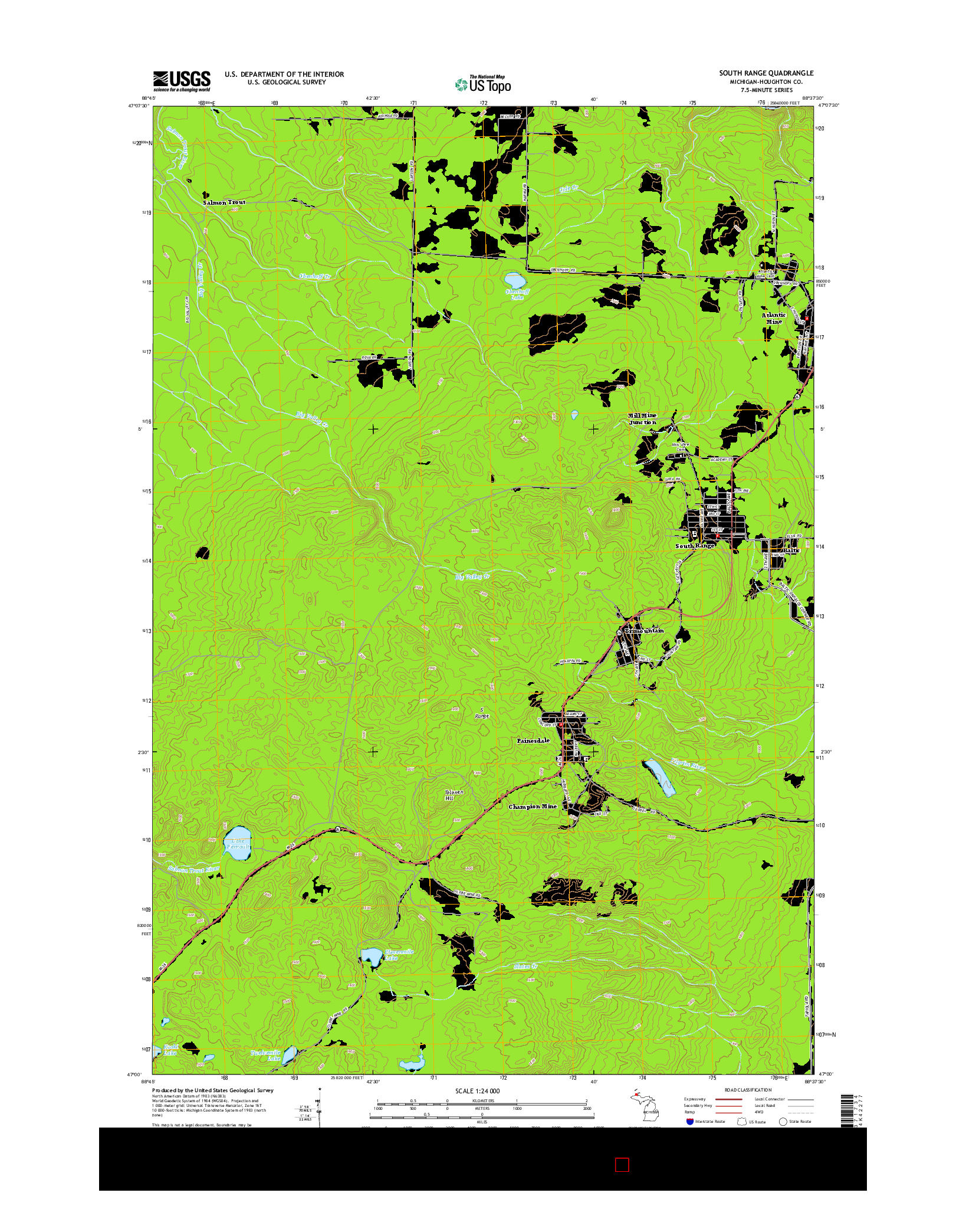 USGS US TOPO 7.5-MINUTE MAP FOR SOUTH RANGE, MI 2014