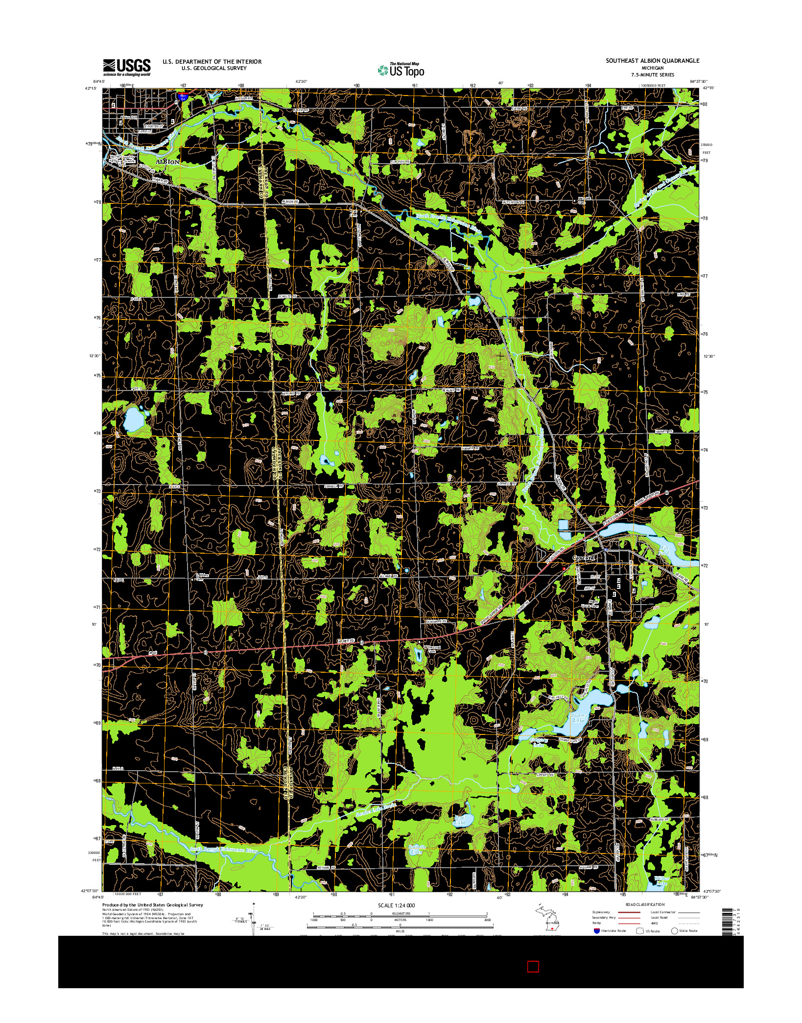 USGS US TOPO 7.5-MINUTE MAP FOR SOUTHEAST ALBION, MI 2014