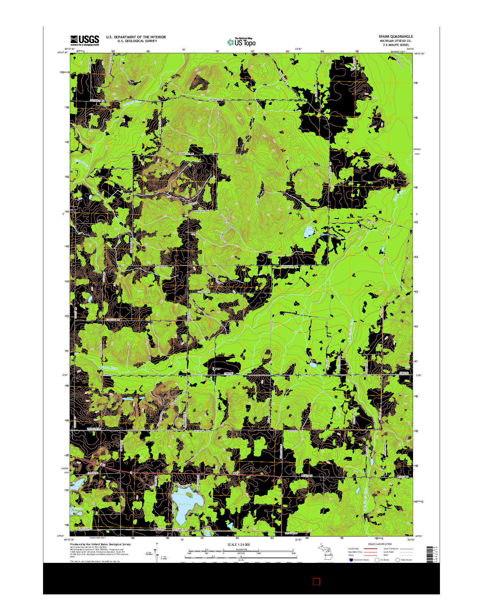 USGS US TOPO 7.5-MINUTE MAP FOR SPARR, MI 2014