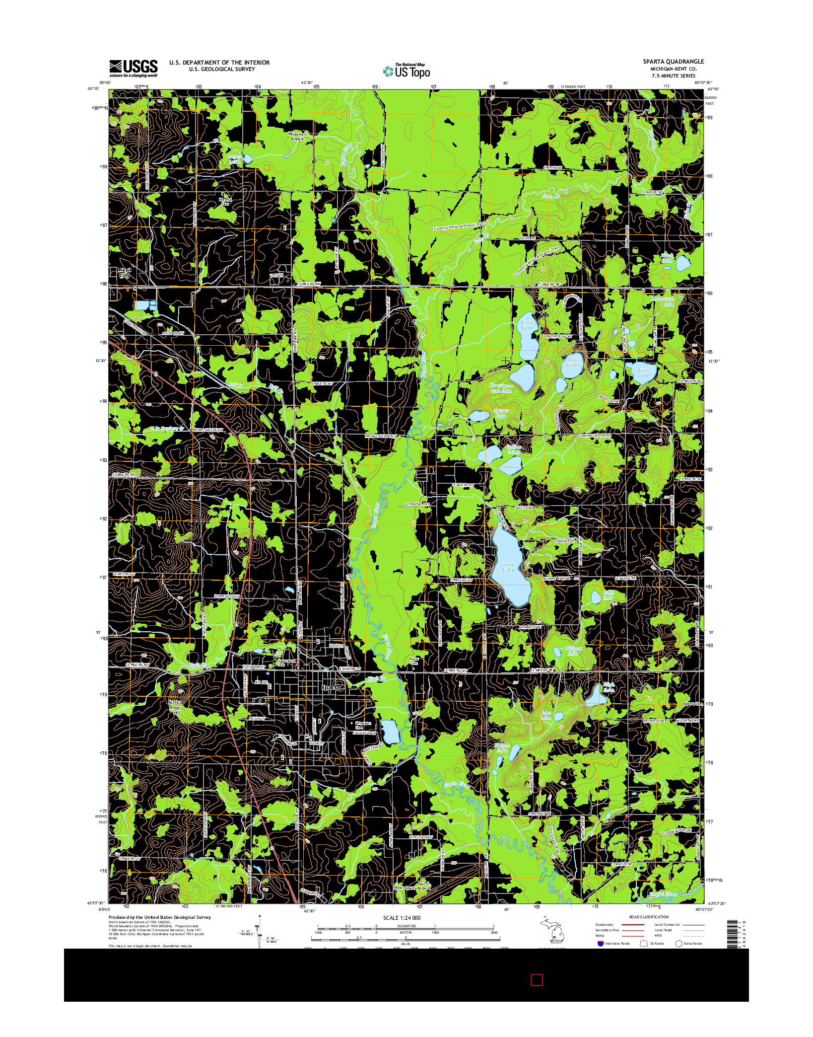 USGS US TOPO 7.5-MINUTE MAP FOR SPARTA, MI 2014