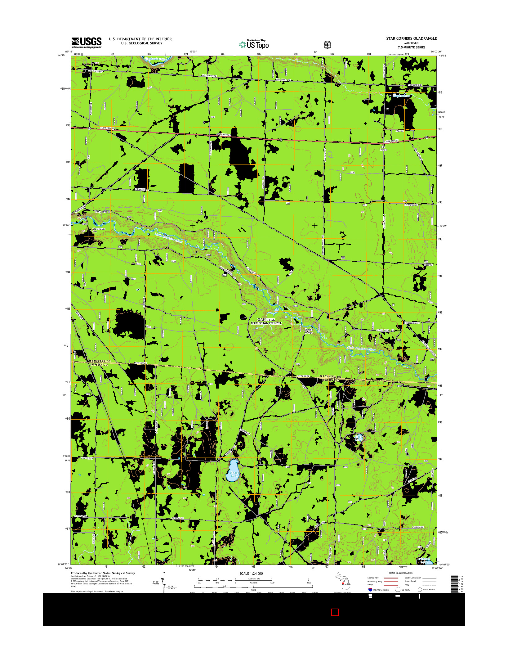 USGS US TOPO 7.5-MINUTE MAP FOR STAR CORNERS, MI 2014