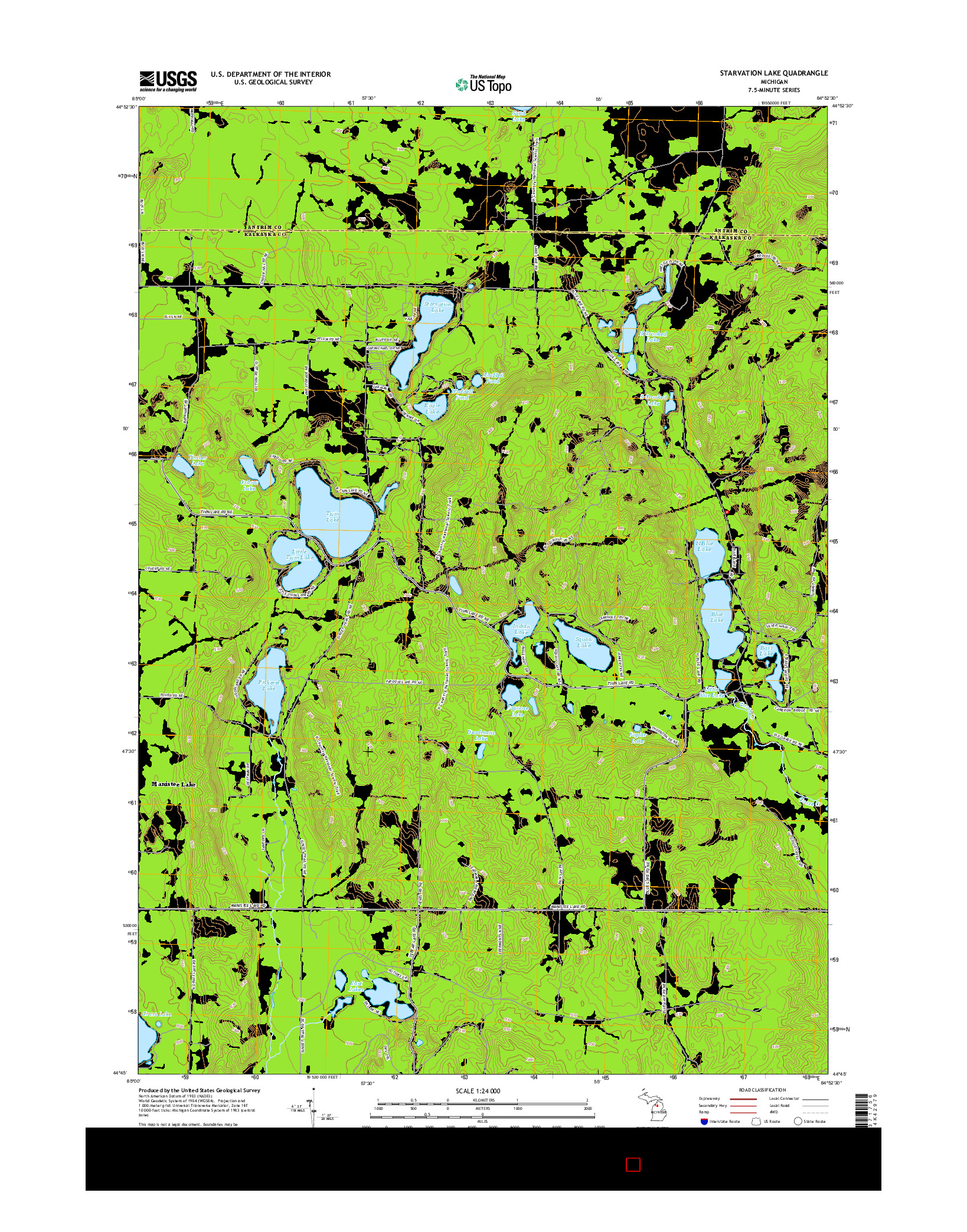 USGS US TOPO 7.5-MINUTE MAP FOR STARVATION LAKE, MI 2014