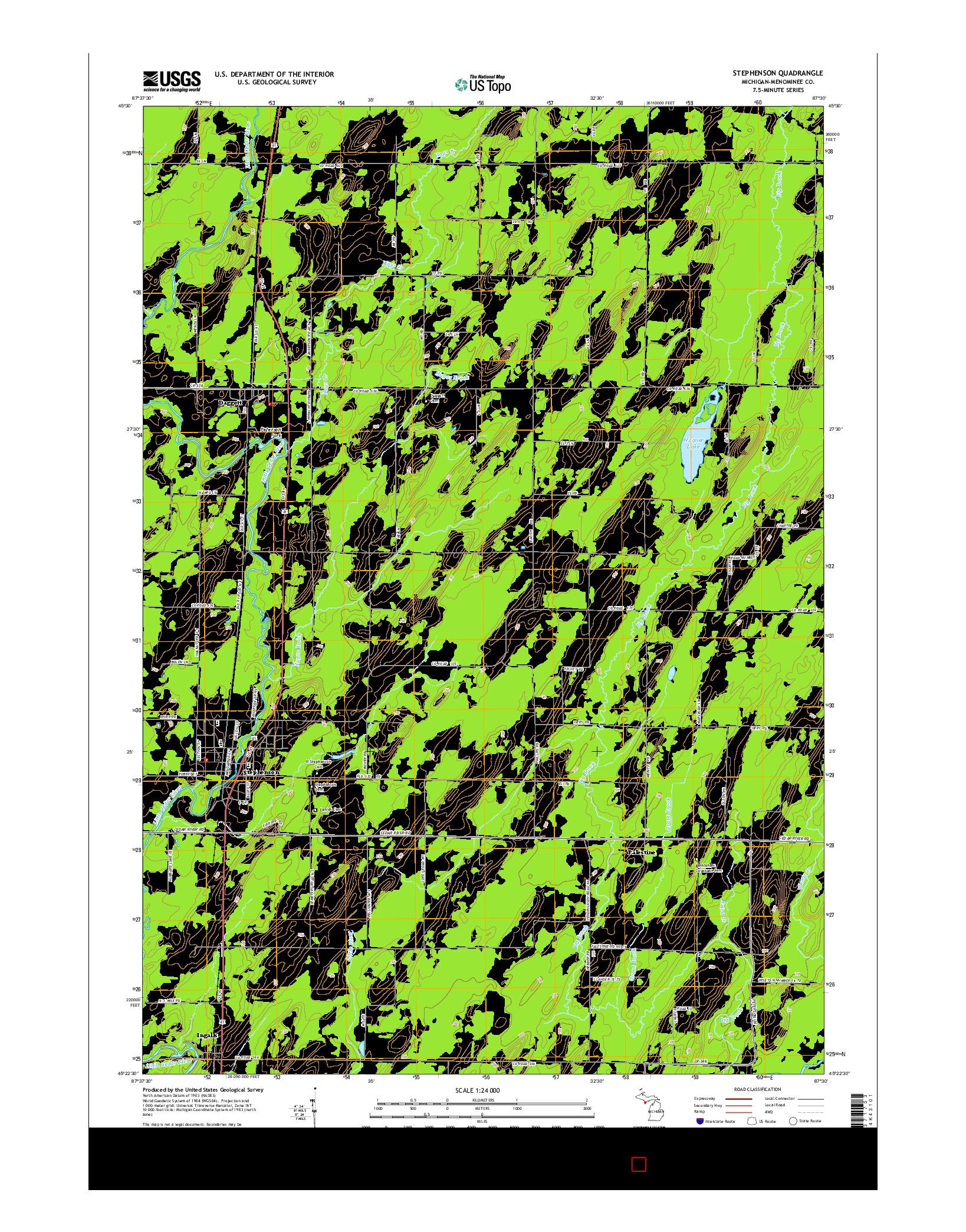 USGS US TOPO 7.5-MINUTE MAP FOR STEPHENSON, MI 2014