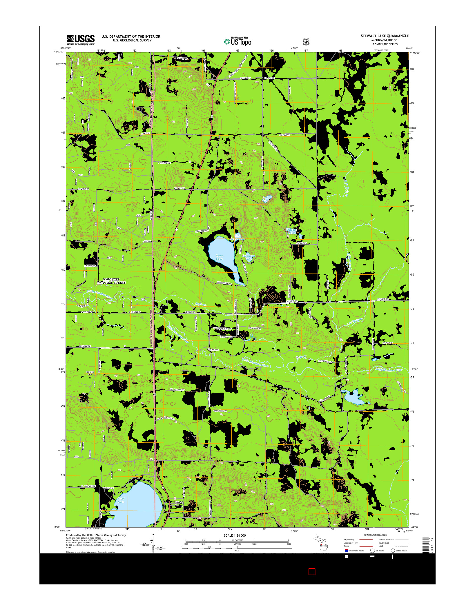 USGS US TOPO 7.5-MINUTE MAP FOR STEWART LAKE, MI 2014
