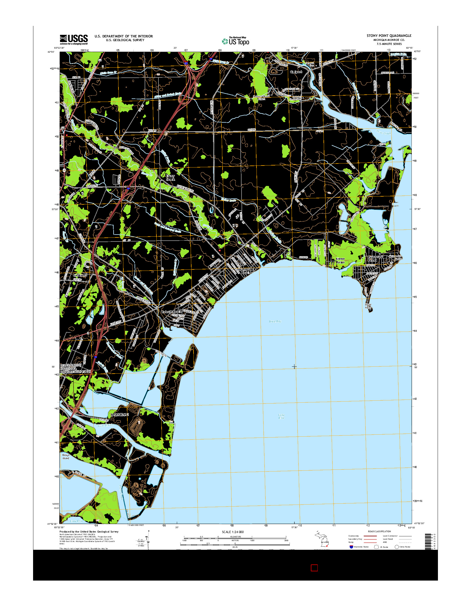 USGS US TOPO 7.5-MINUTE MAP FOR STONY POINT, MI 2014