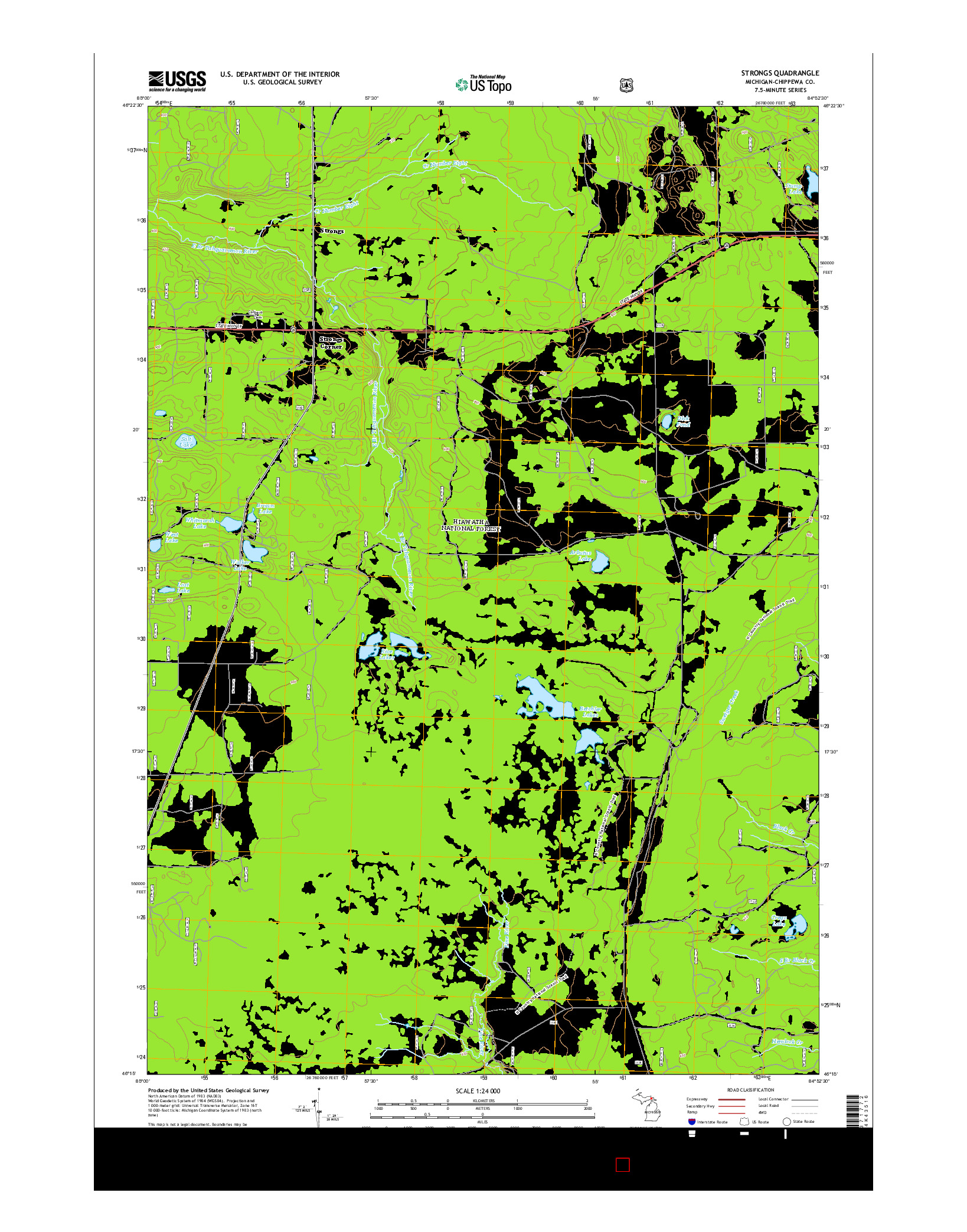 USGS US TOPO 7.5-MINUTE MAP FOR STRONGS, MI 2014