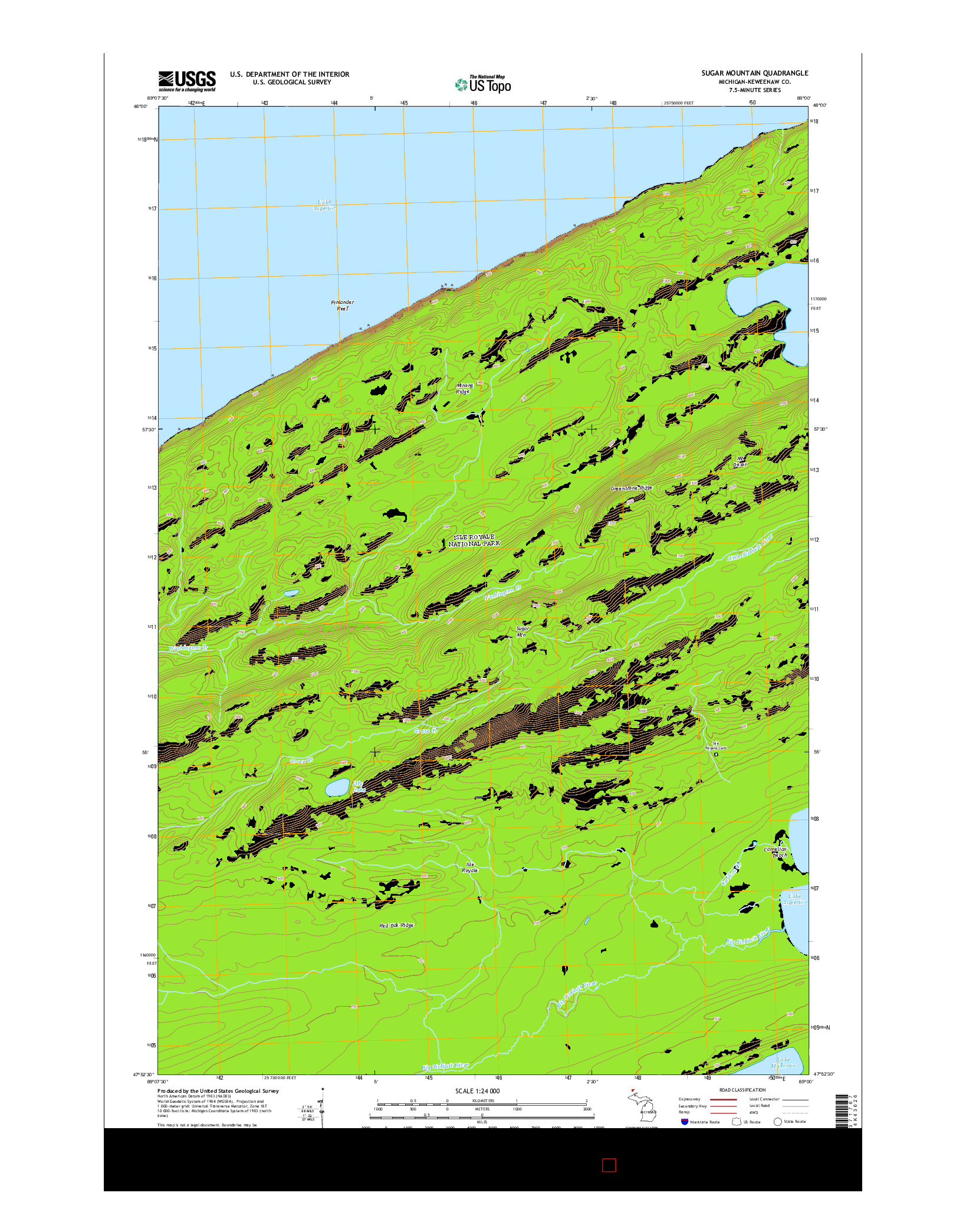 USGS US TOPO 7.5-MINUTE MAP FOR SUGAR MOUNTAIN, MI 2014