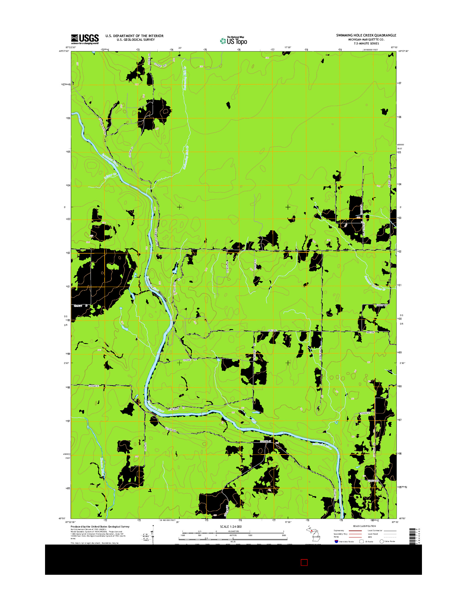 USGS US TOPO 7.5-MINUTE MAP FOR SWIMMING HOLE CREEK, MI 2014