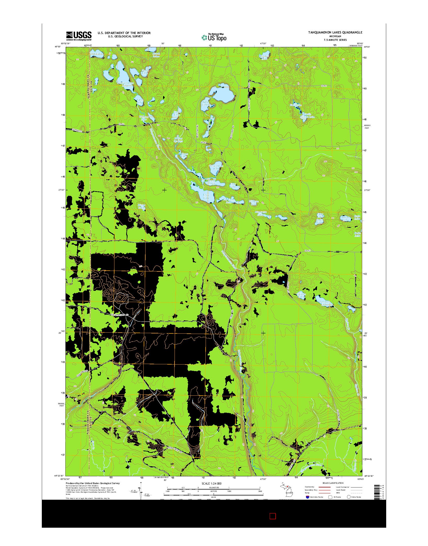 USGS US TOPO 7.5-MINUTE MAP FOR TAHQUAMENON LAKES, MI 2014