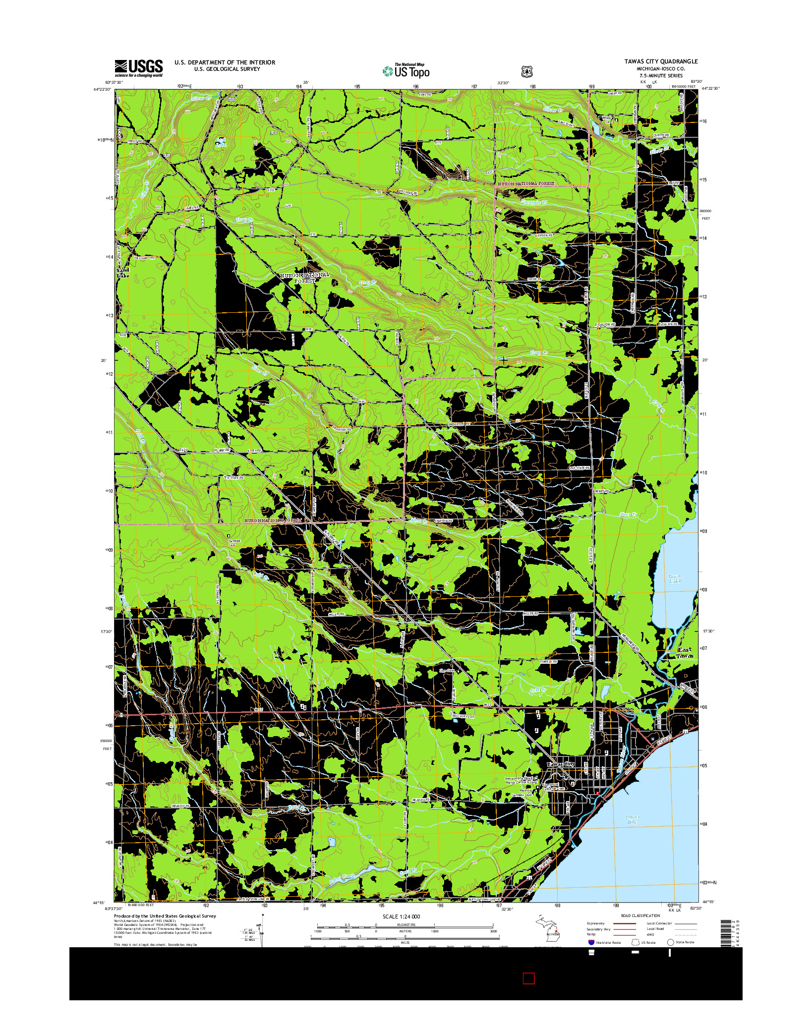 USGS US TOPO 7.5-MINUTE MAP FOR TAWAS CITY, MI 2014