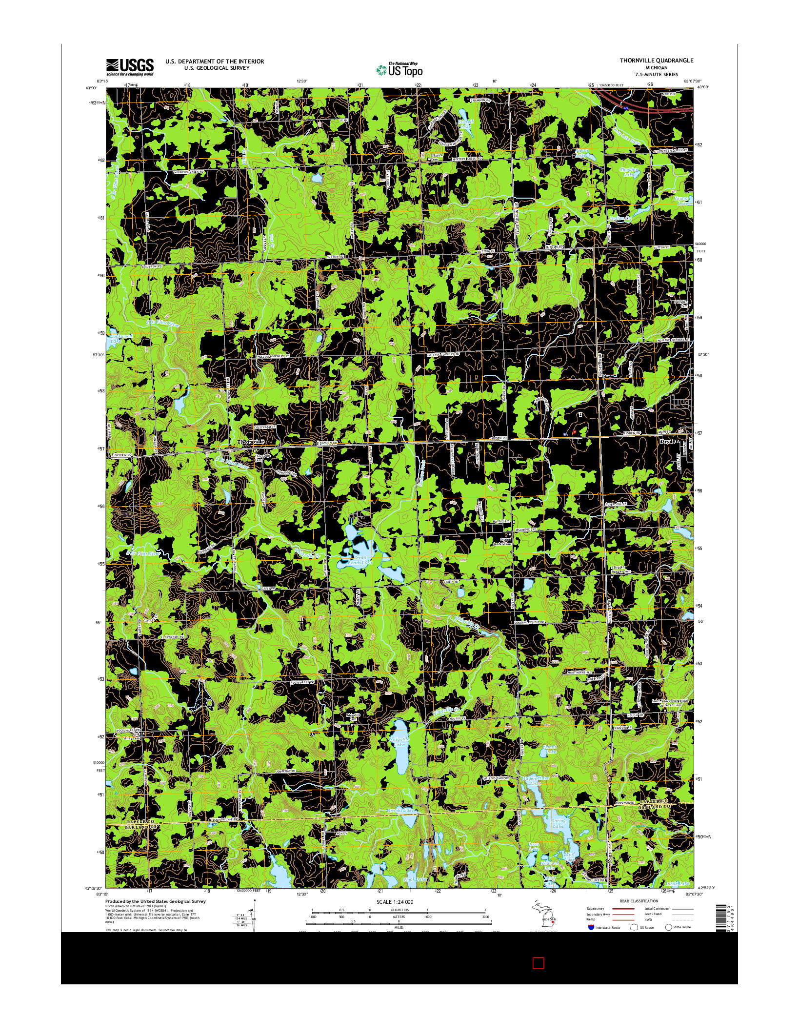 USGS US TOPO 7.5-MINUTE MAP FOR THORNVILLE, MI 2014