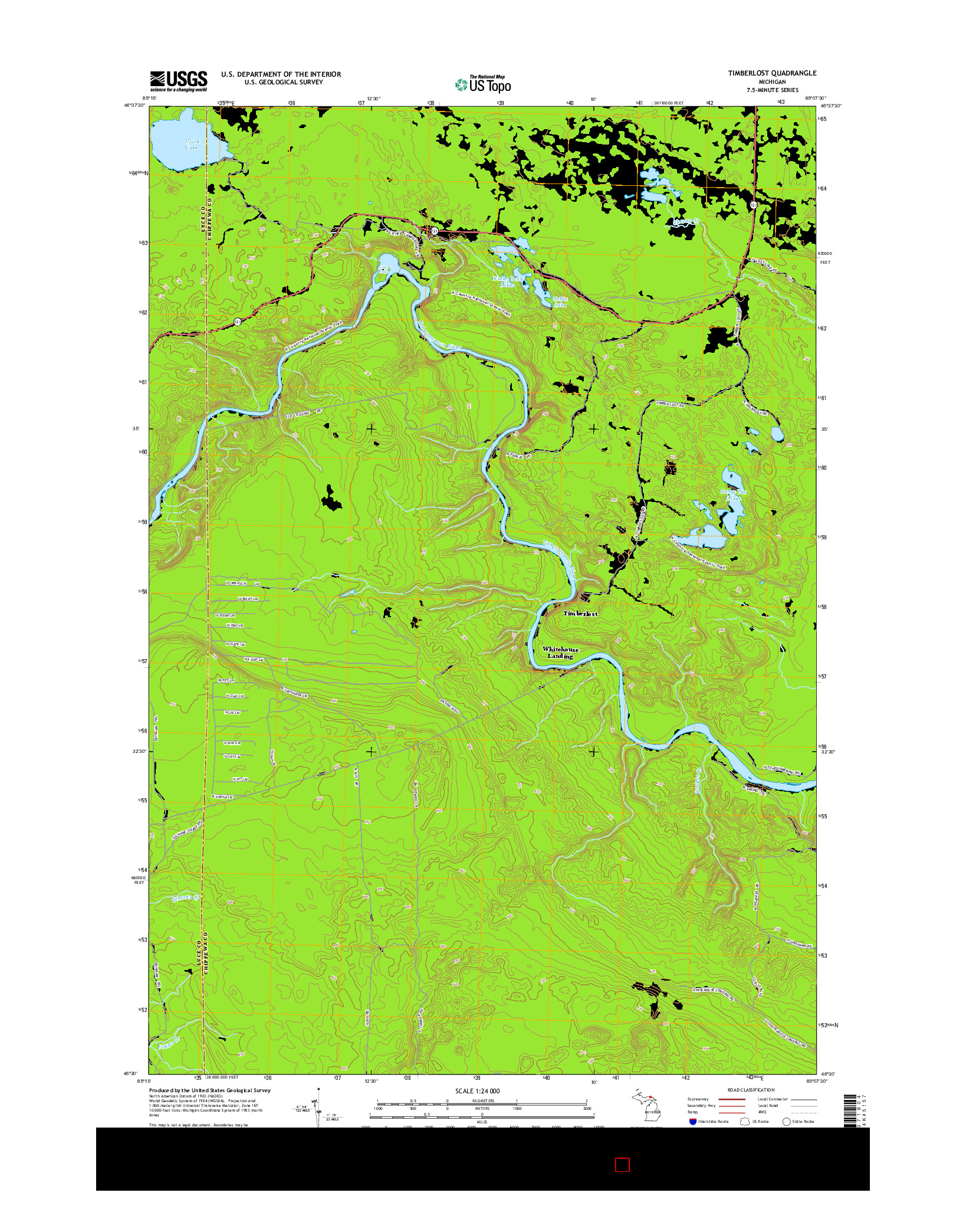 USGS US TOPO 7.5-MINUTE MAP FOR TIMBERLOST, MI 2014