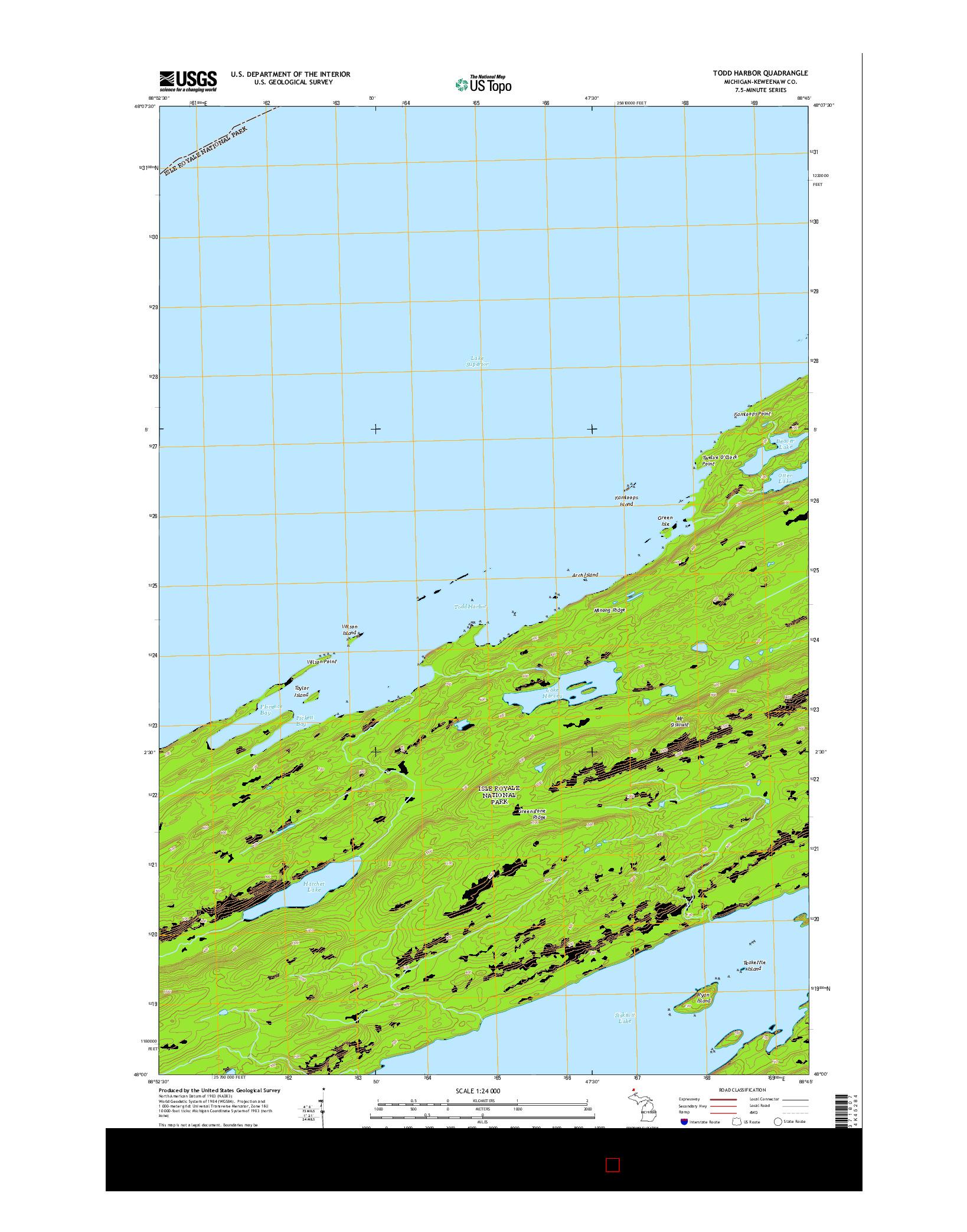 USGS US TOPO 7.5-MINUTE MAP FOR TODD HARBOR, MI 2014