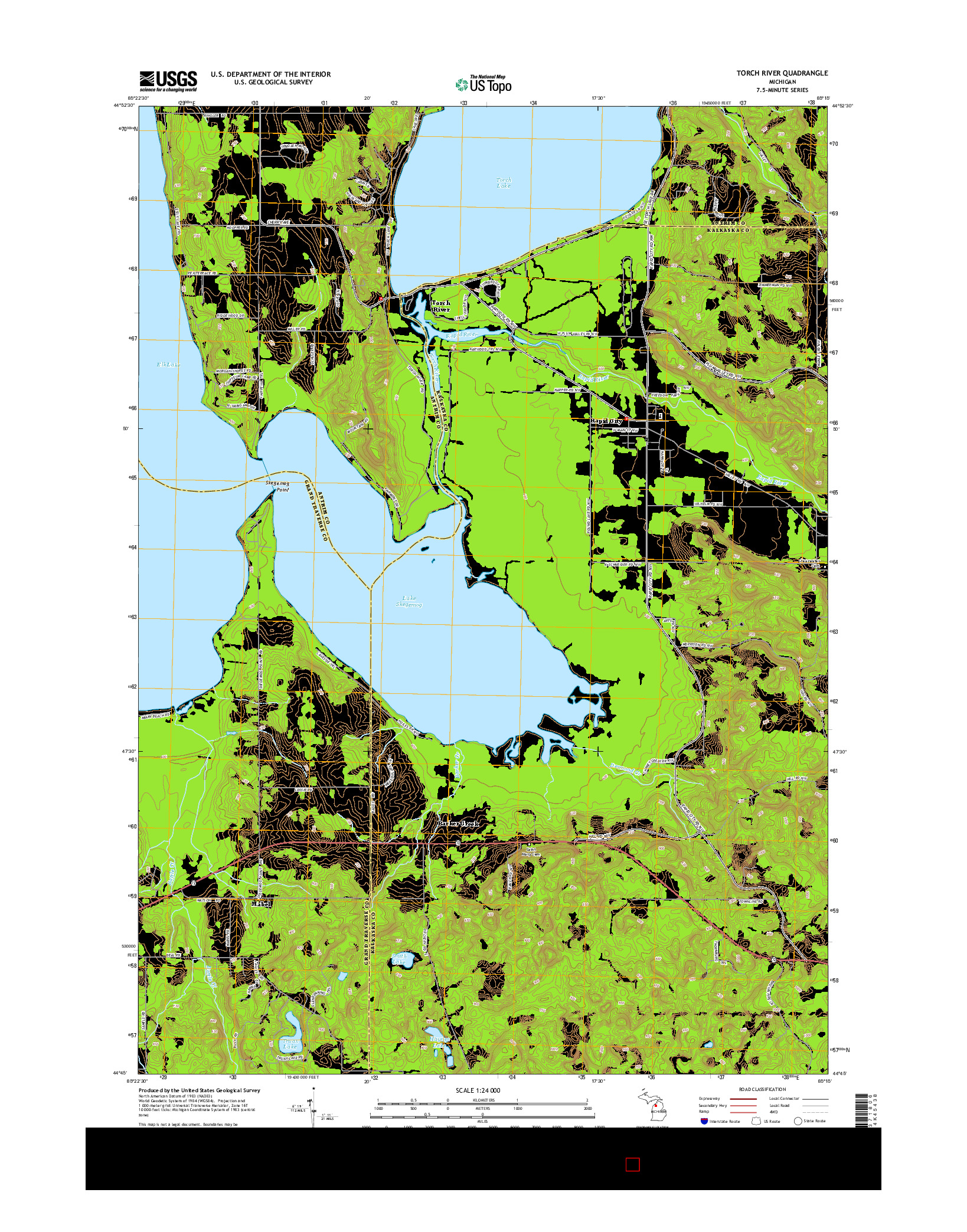 USGS US TOPO 7.5-MINUTE MAP FOR TORCH RIVER, MI 2014