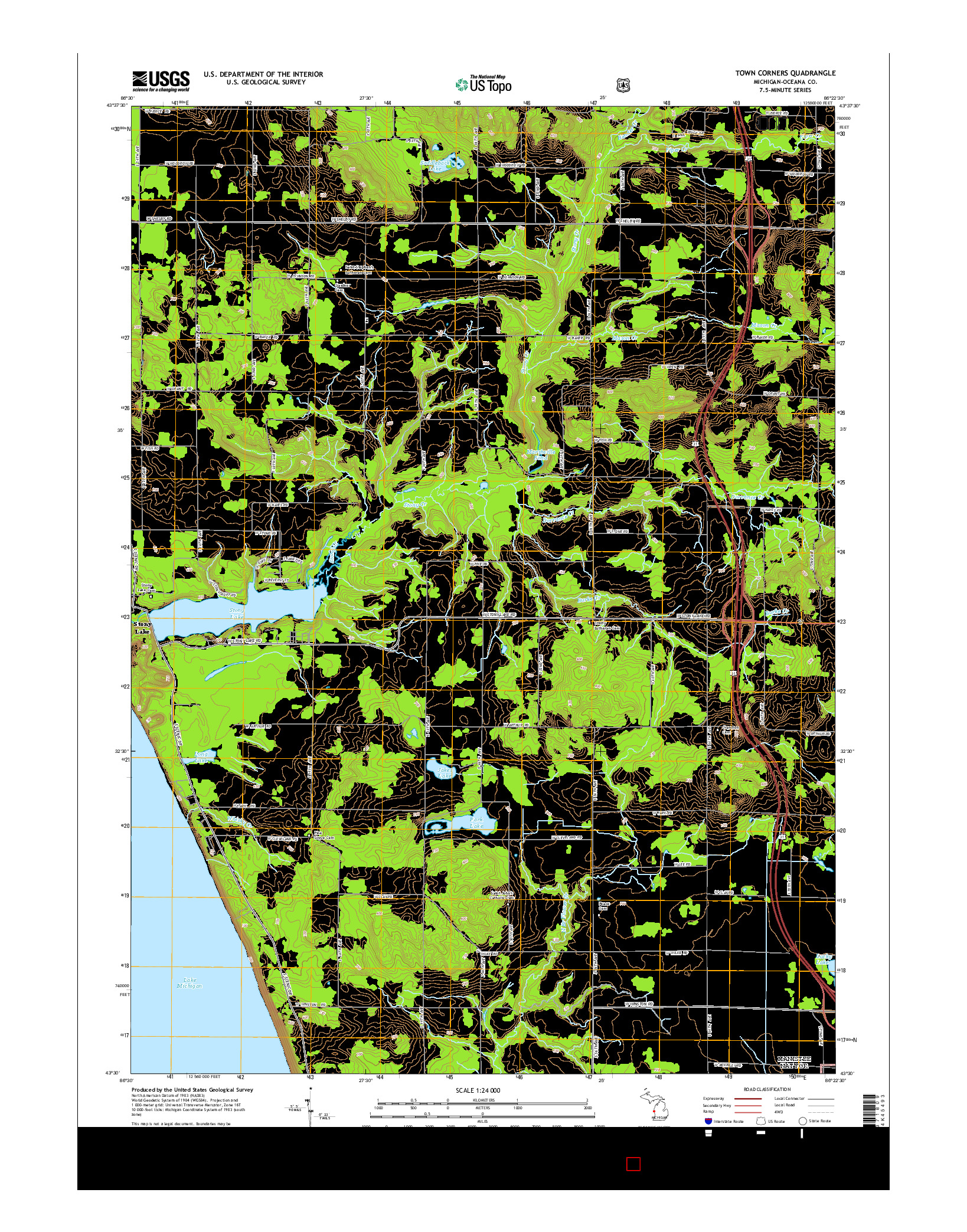 USGS US TOPO 7.5-MINUTE MAP FOR TOWN CORNERS, MI 2014