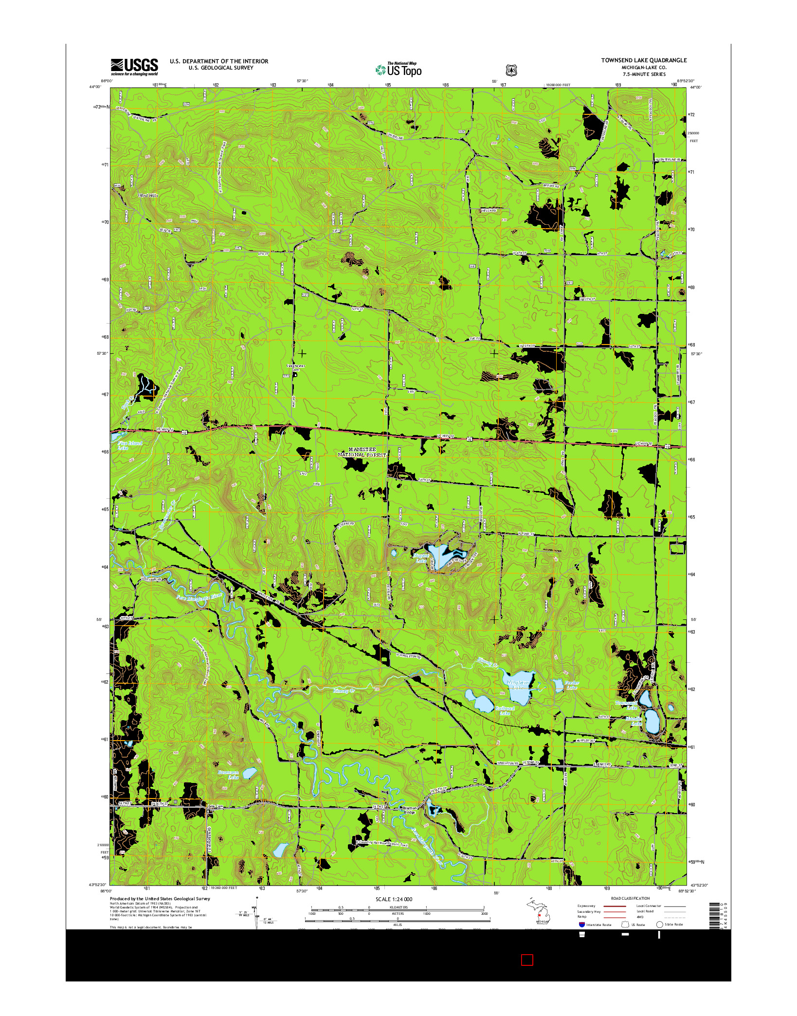 USGS US TOPO 7.5-MINUTE MAP FOR TOWNSEND LAKE, MI 2014