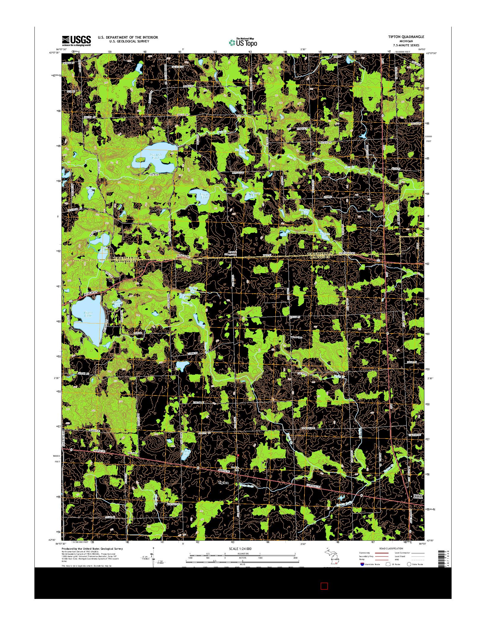 USGS US TOPO 7.5-MINUTE MAP FOR TIPTON, MI 2014