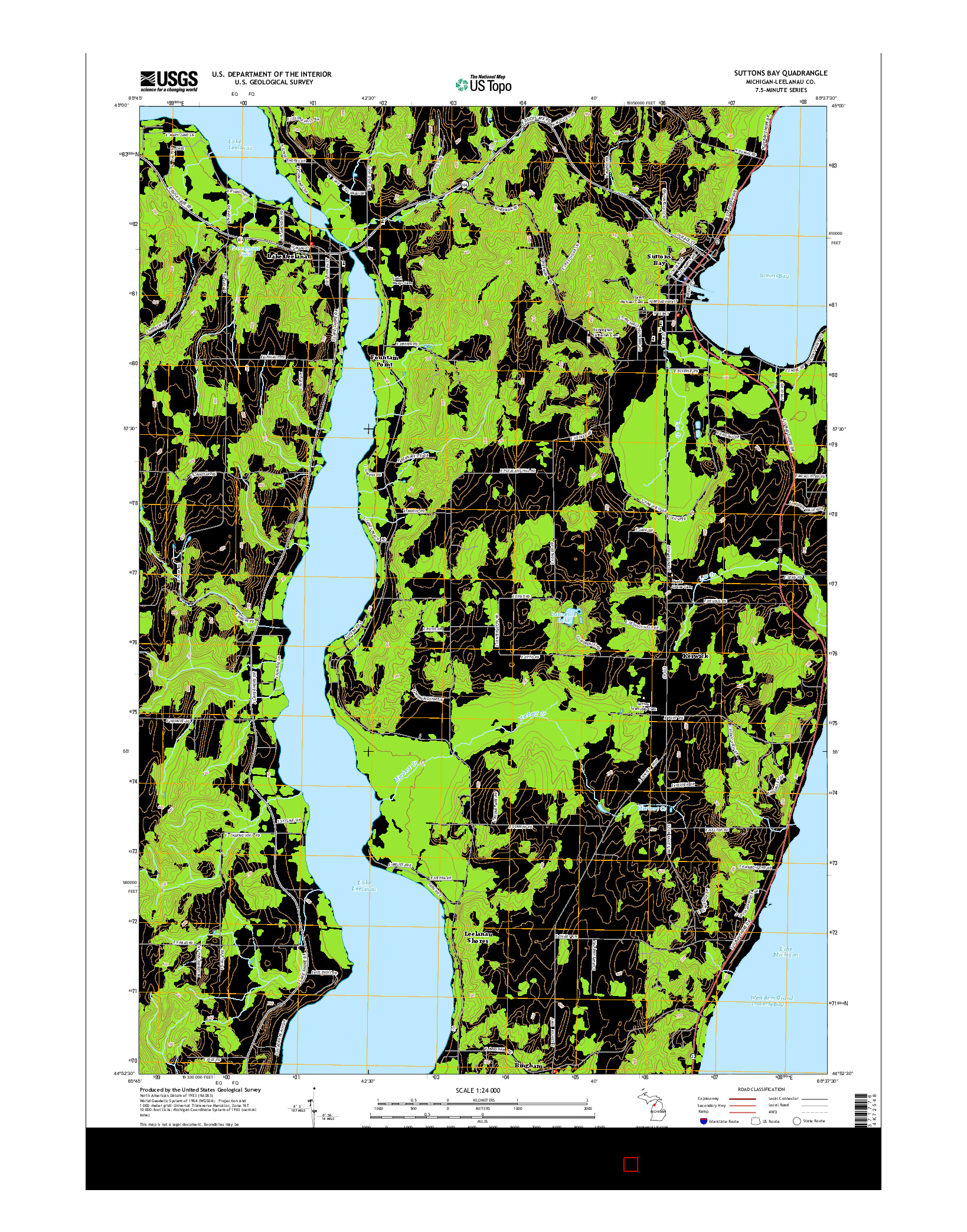 USGS US TOPO 7.5-MINUTE MAP FOR SUTTONS BAY, MI 2014