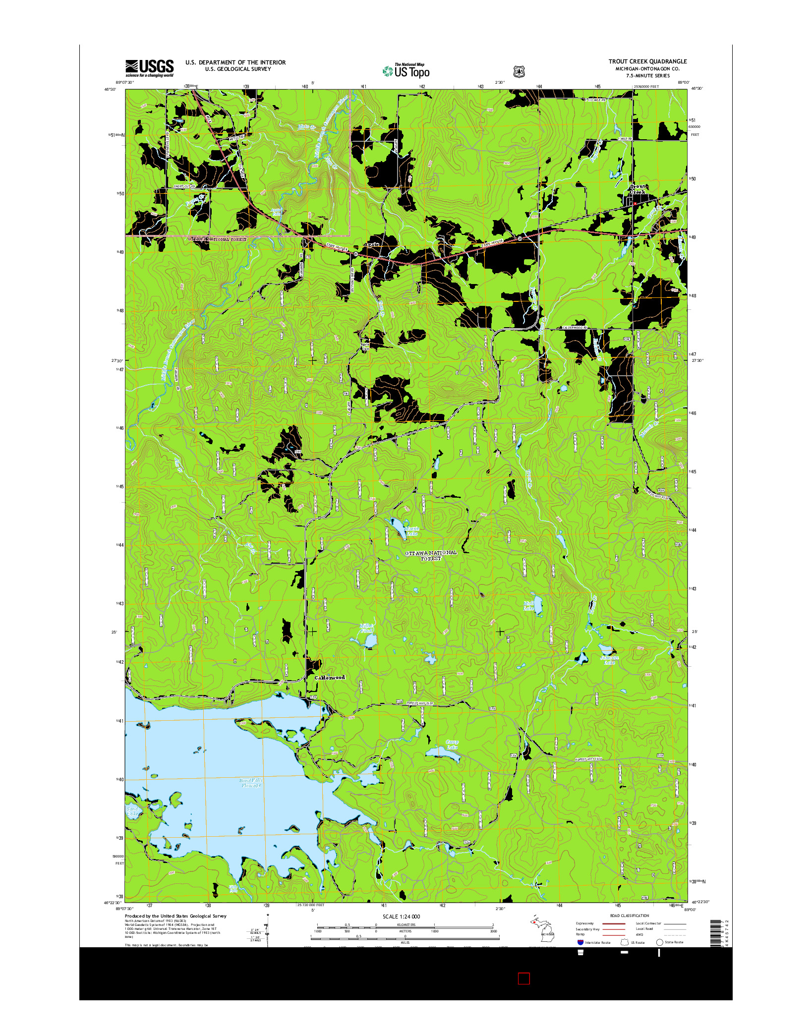 USGS US TOPO 7.5-MINUTE MAP FOR TROUT CREEK, MI 2014
