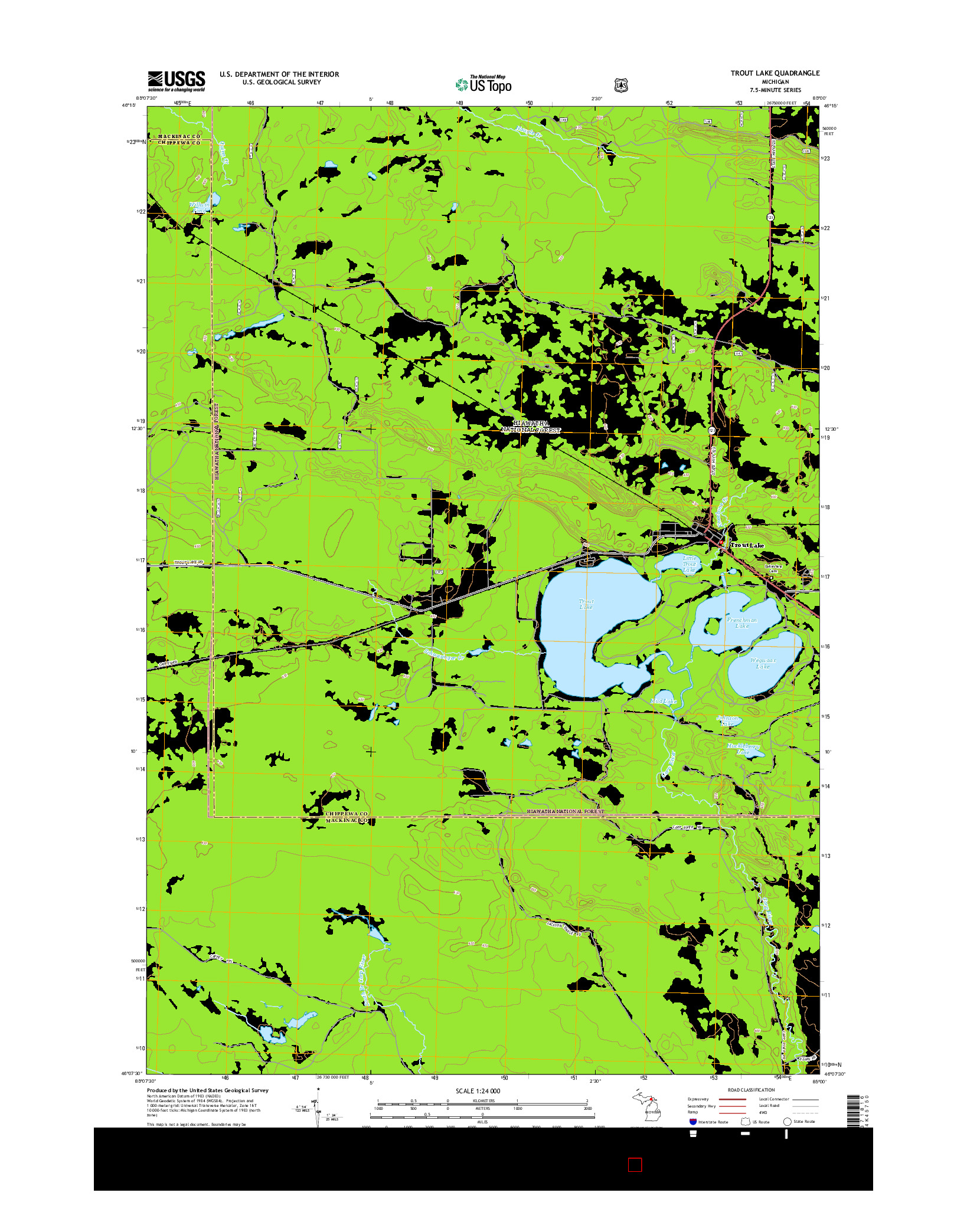 USGS US TOPO 7.5-MINUTE MAP FOR TROUT LAKE, MI 2014