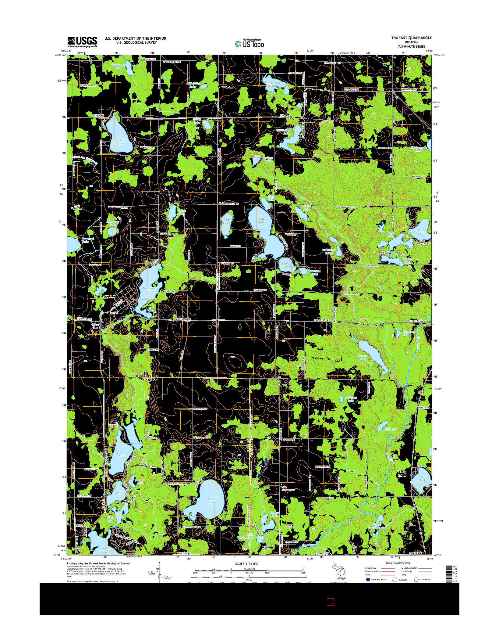 USGS US TOPO 7.5-MINUTE MAP FOR TRUFANT, MI 2014