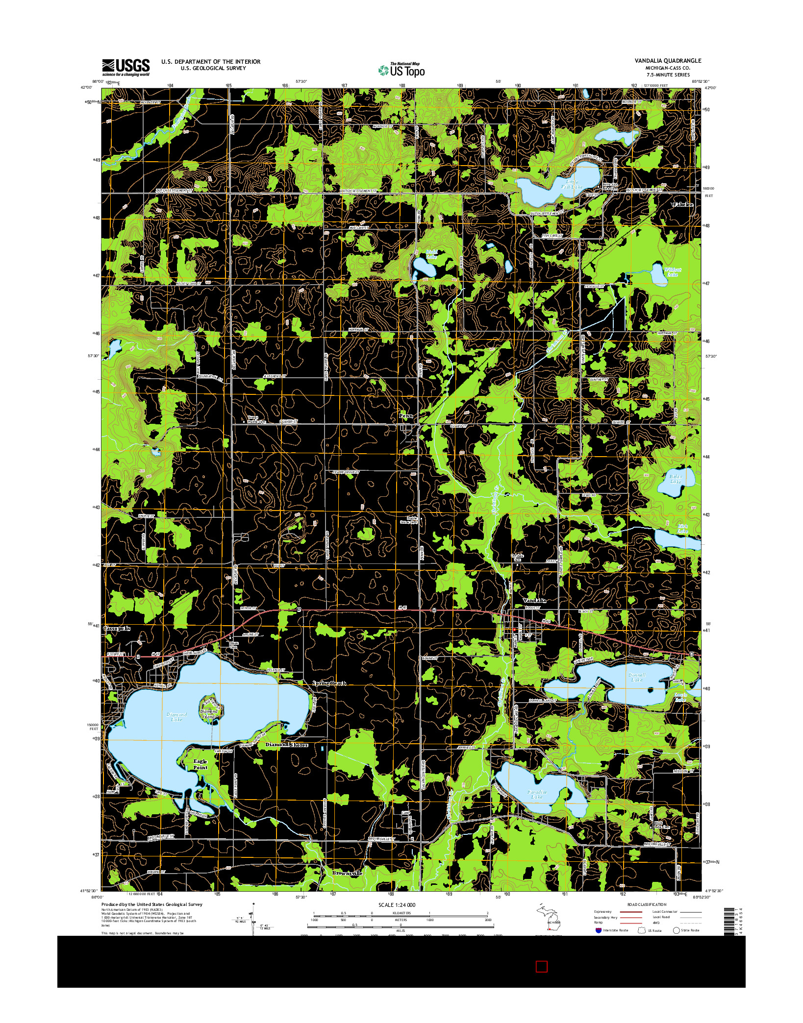 USGS US TOPO 7.5-MINUTE MAP FOR VANDALIA, MI 2014