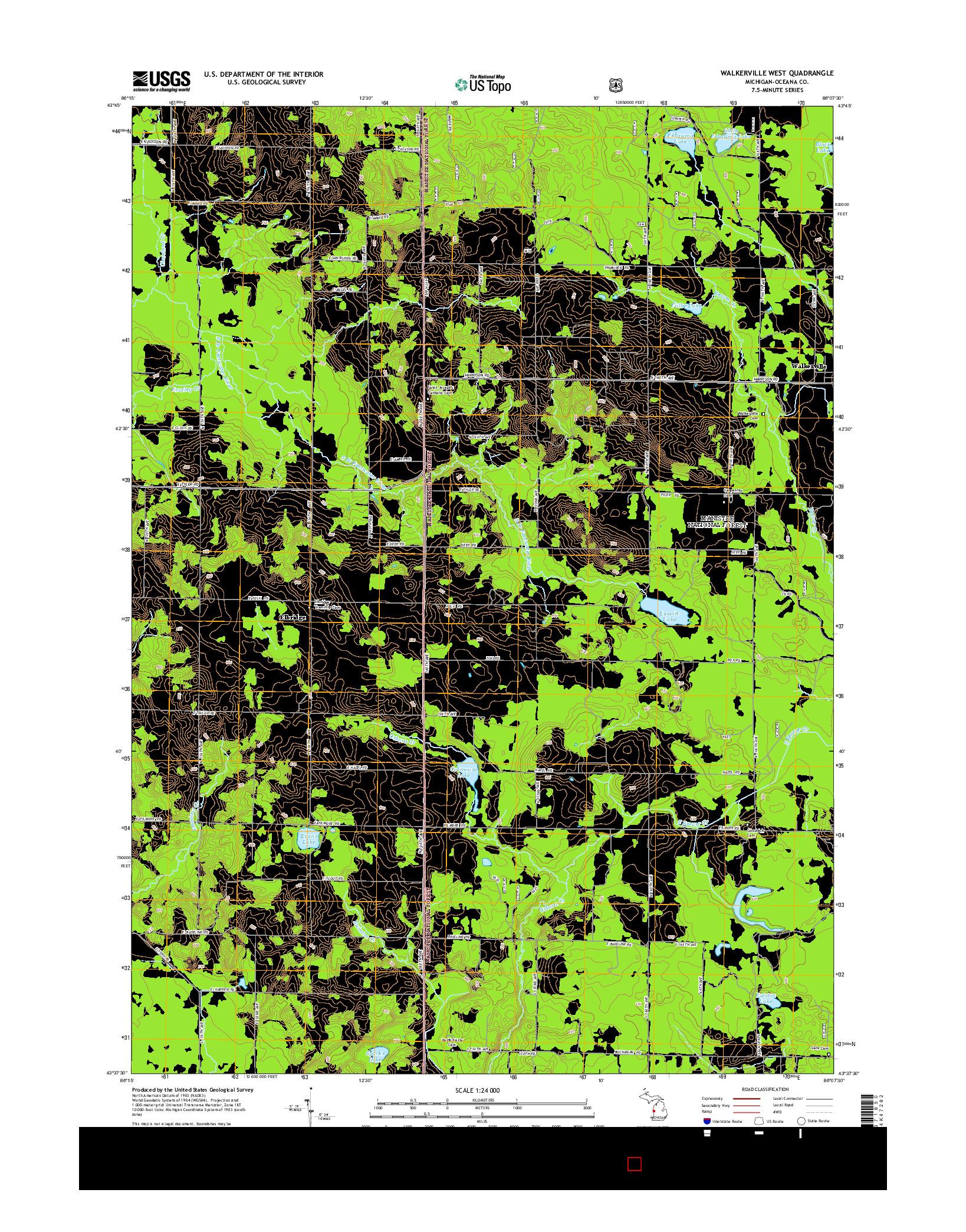 USGS US TOPO 7.5-MINUTE MAP FOR WALKERVILLE WEST, MI 2014