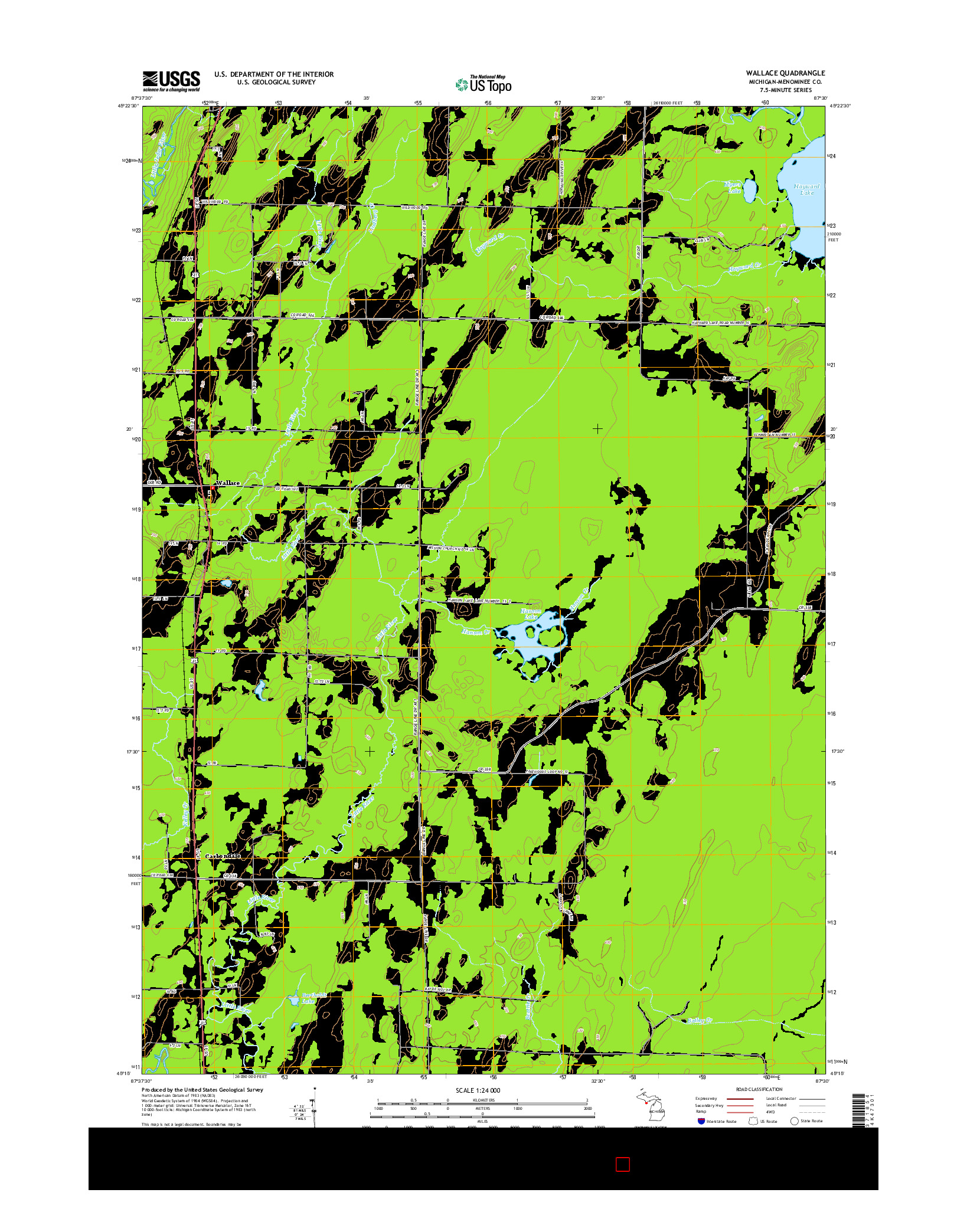 USGS US TOPO 7.5-MINUTE MAP FOR WALLACE, MI 2014