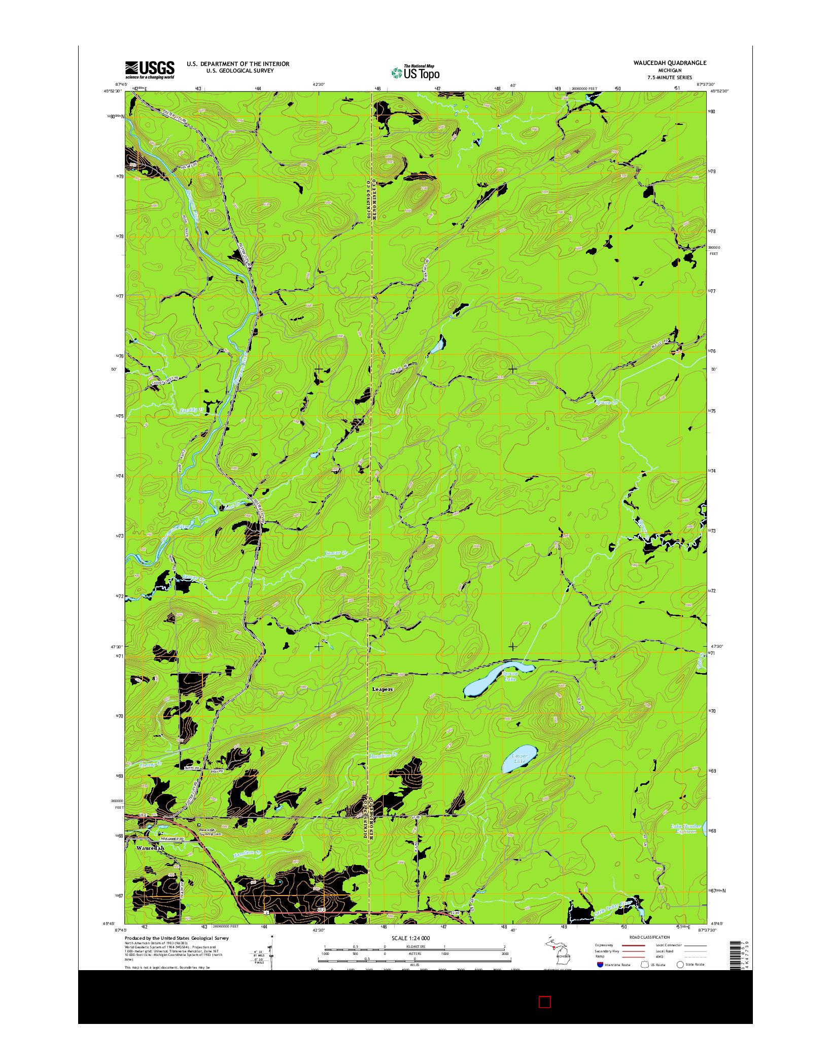 USGS US TOPO 7.5-MINUTE MAP FOR WAUCEDAH, MI 2014