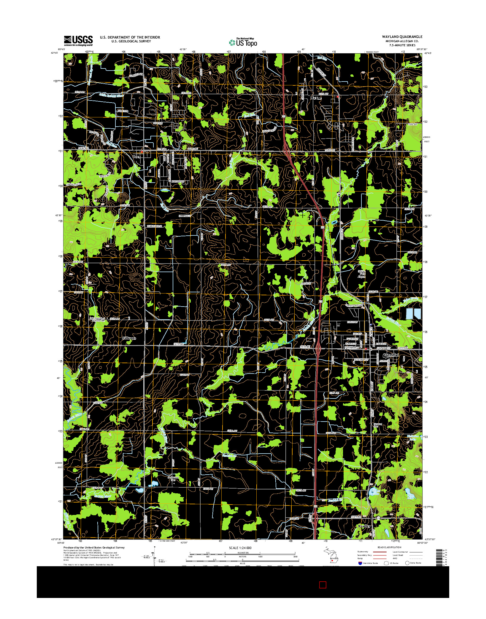 USGS US TOPO 7.5-MINUTE MAP FOR WAYLAND, MI 2014