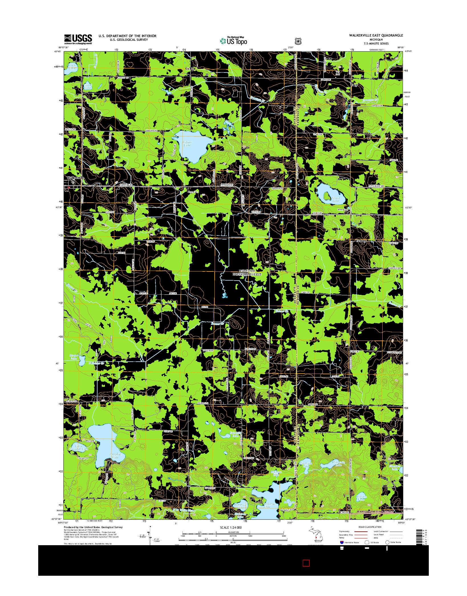 USGS US TOPO 7.5-MINUTE MAP FOR WALKERVILLE EAST, MI 2014