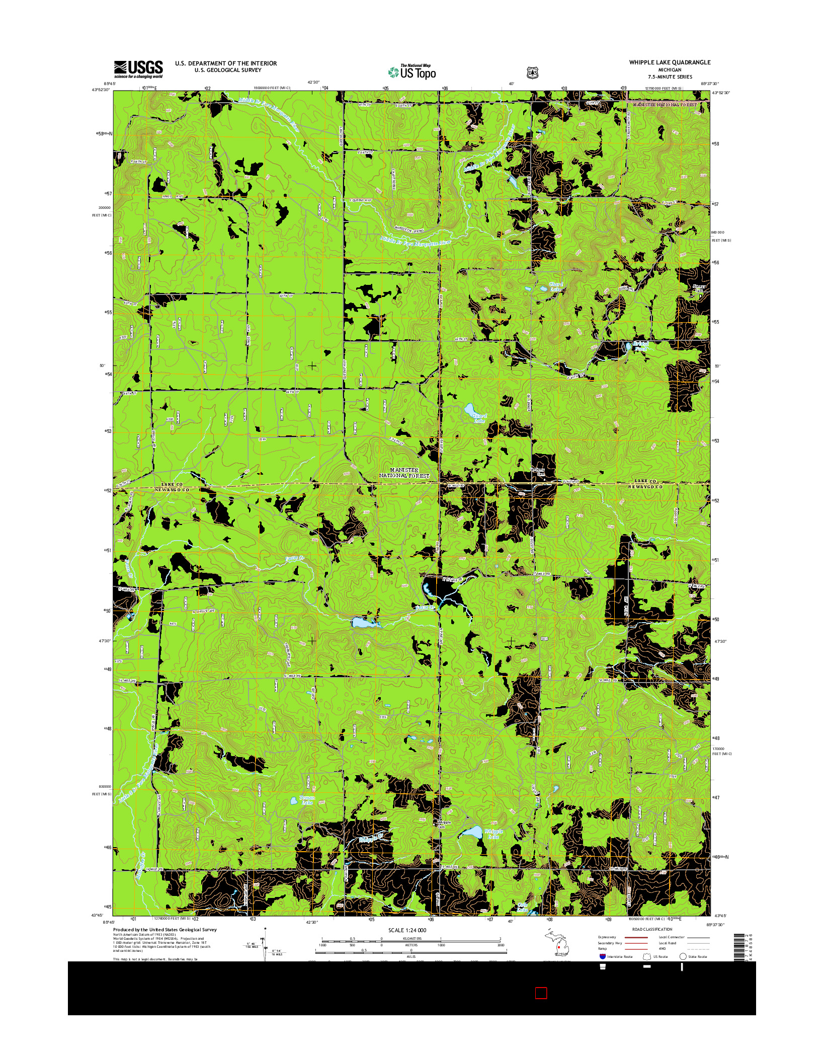USGS US TOPO 7.5-MINUTE MAP FOR WHIPPLE LAKE, MI 2014