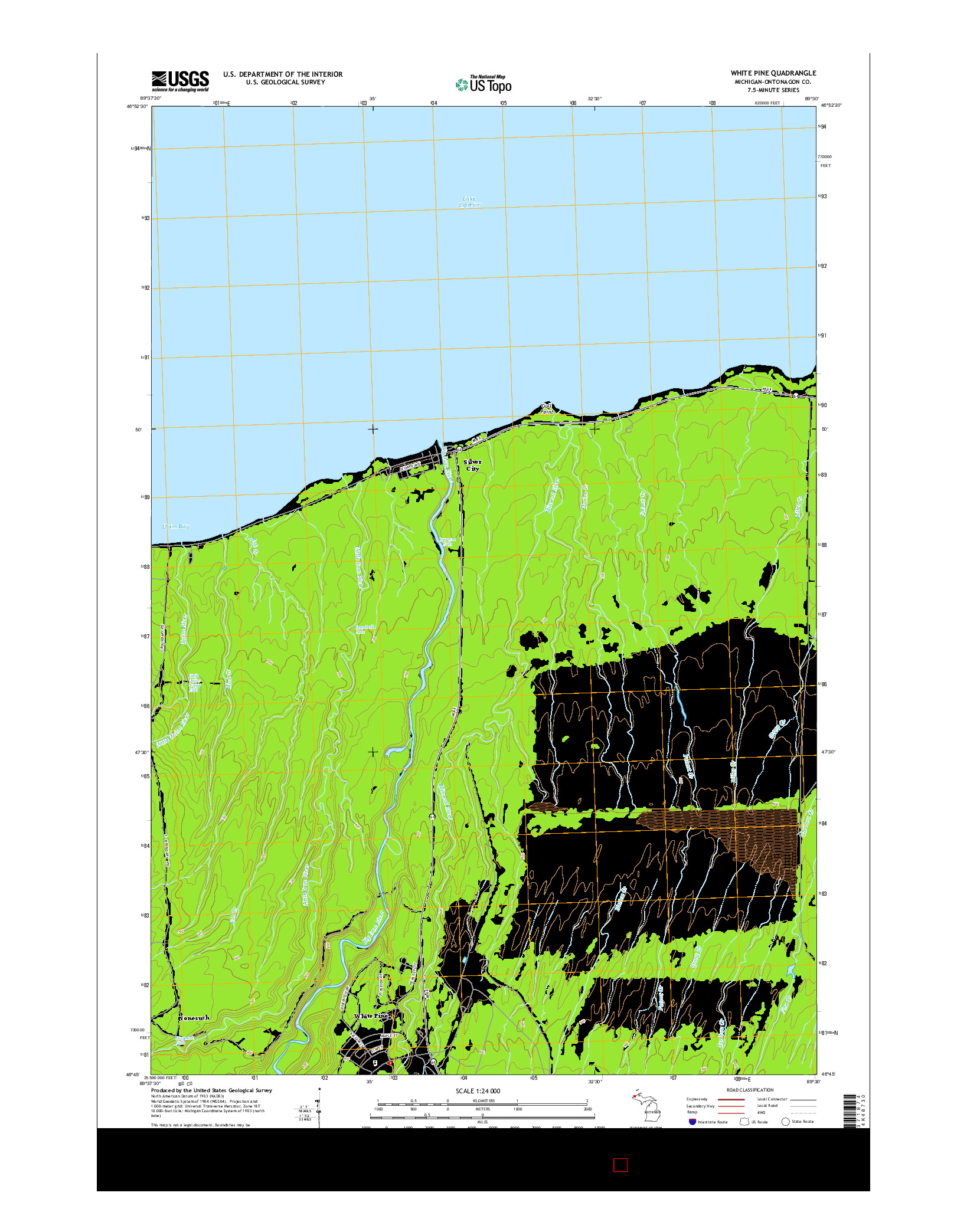 USGS US TOPO 7.5-MINUTE MAP FOR WHITE PINE, MI 2014
