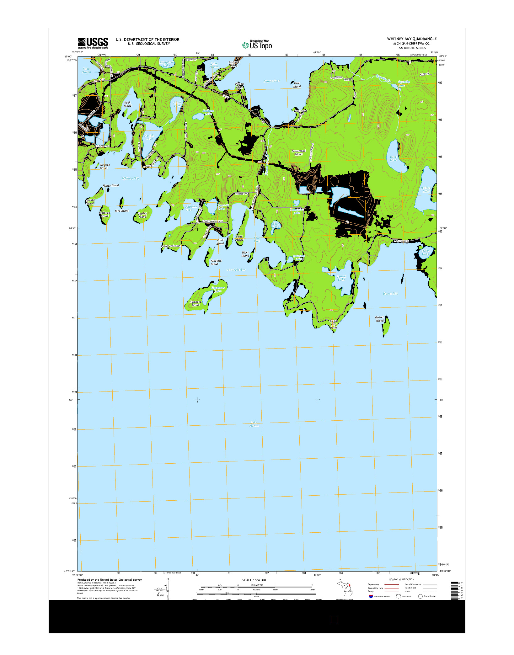 USGS US TOPO 7.5-MINUTE MAP FOR WHITNEY BAY, MI 2014