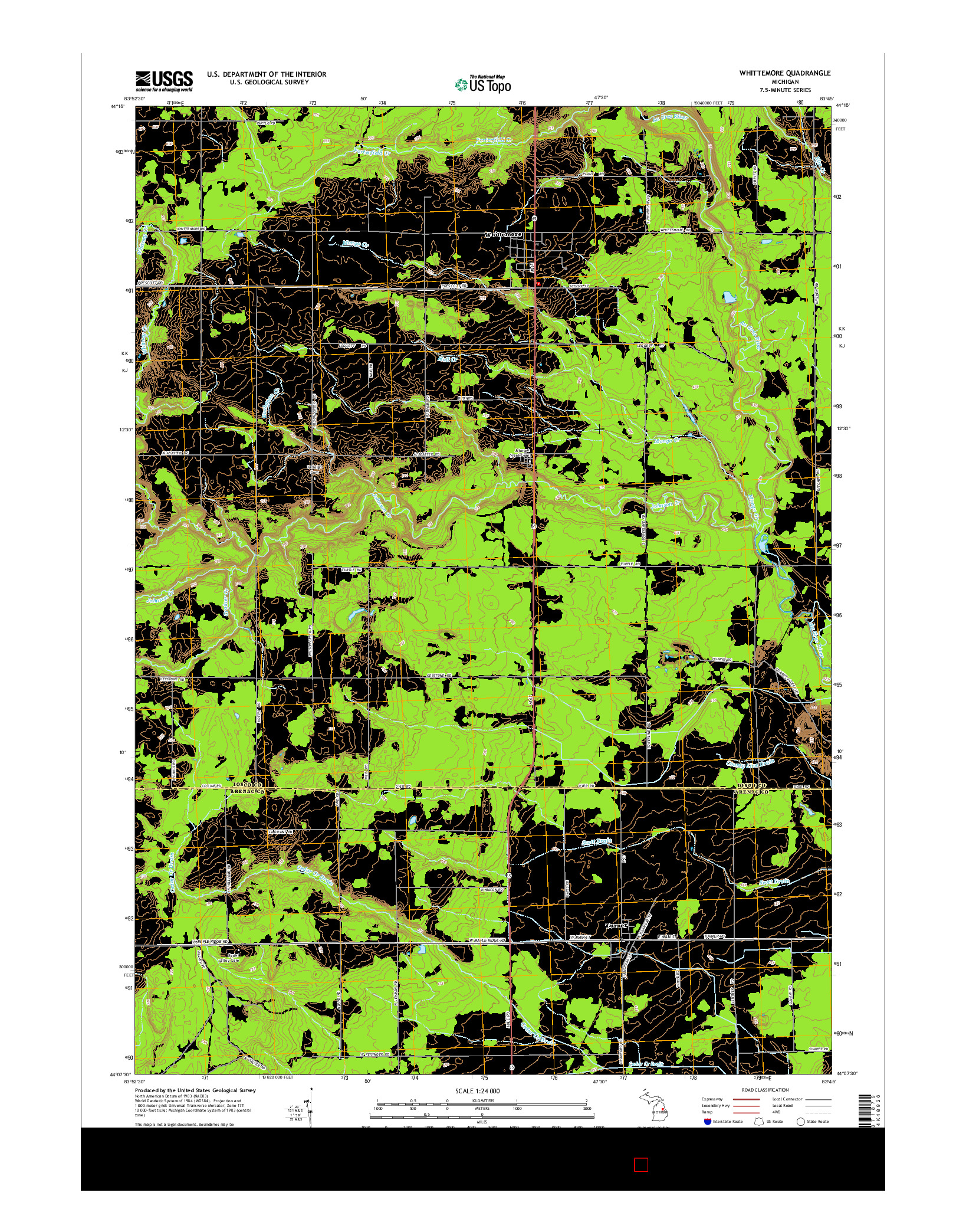 USGS US TOPO 7.5-MINUTE MAP FOR WHITTEMORE, MI 2014