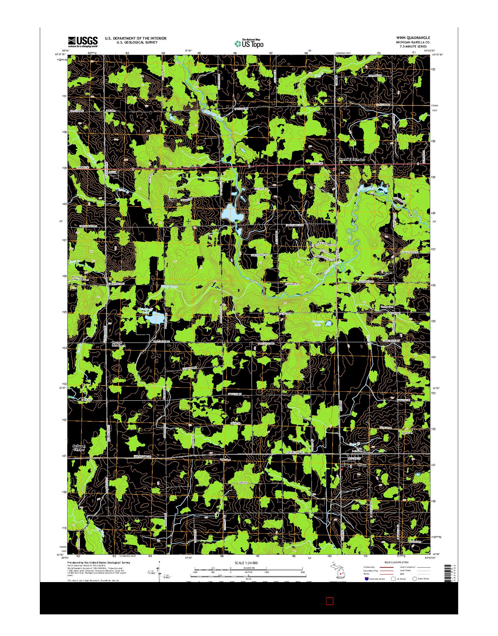 USGS US TOPO 7.5-MINUTE MAP FOR WINN, MI 2014