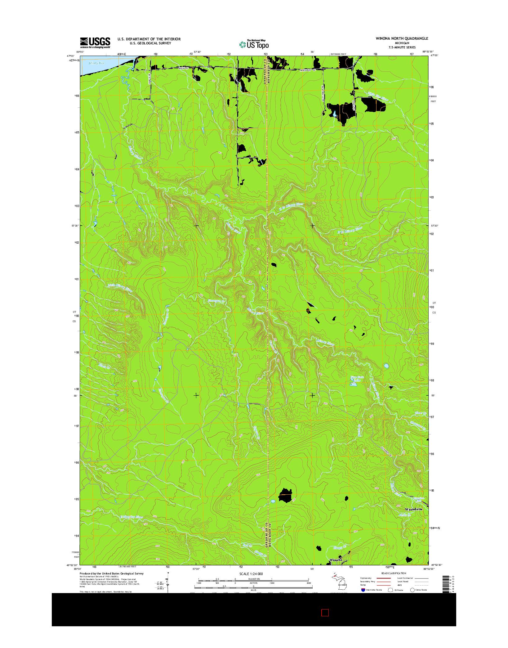 USGS US TOPO 7.5-MINUTE MAP FOR WINONA NORTH, MI 2014