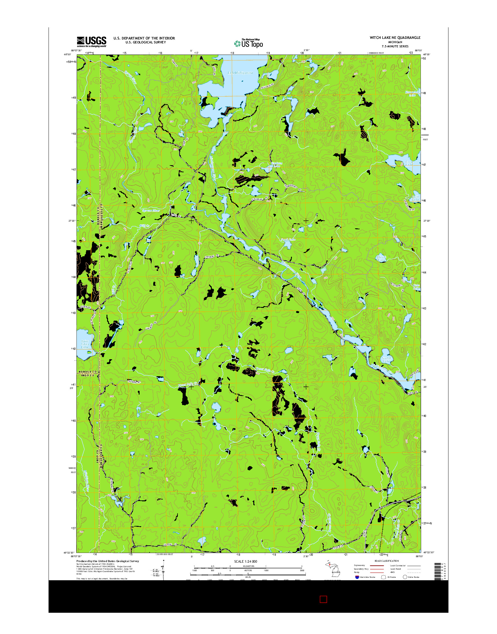 USGS US TOPO 7.5-MINUTE MAP FOR WITCH LAKE NE, MI 2014